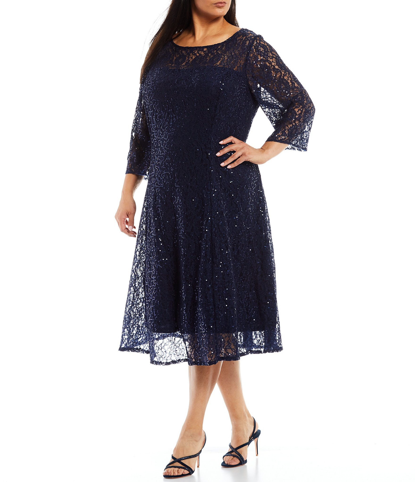 Ignite Evenings Plus Size 3/4 Sleeve Sequin Lace Fit and Flare Dress