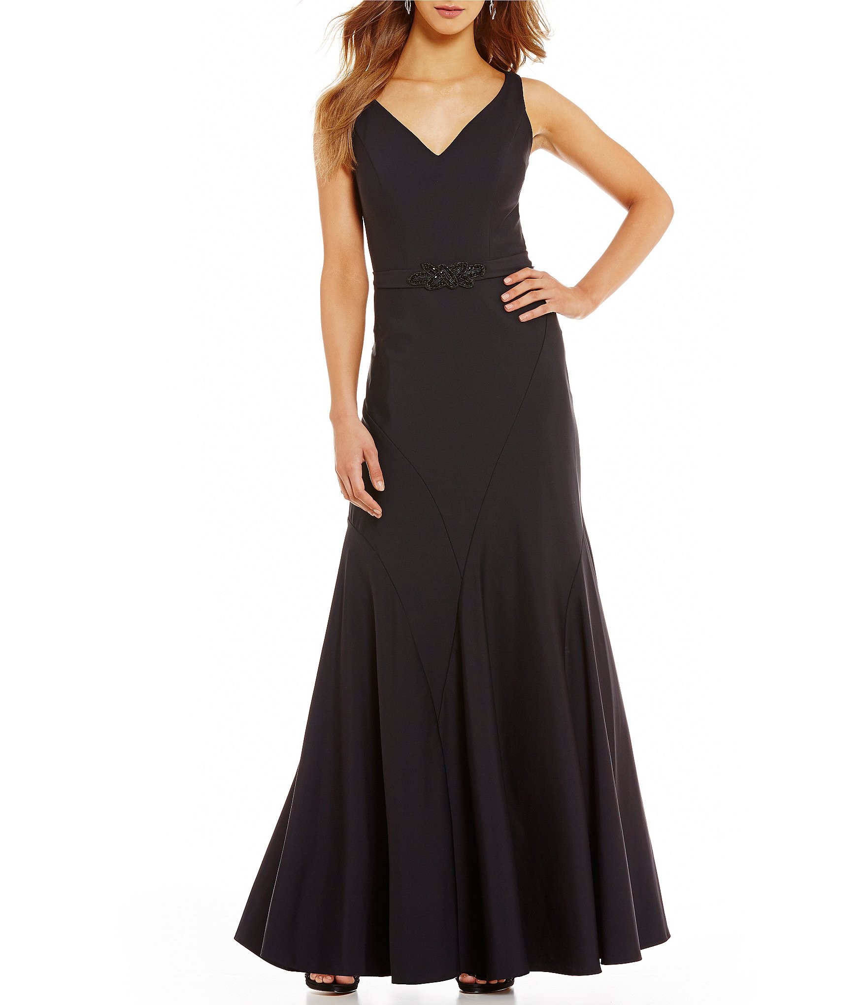 Ignite Evenings V-Neck Embellished Belted Scuba Gown | Dillards