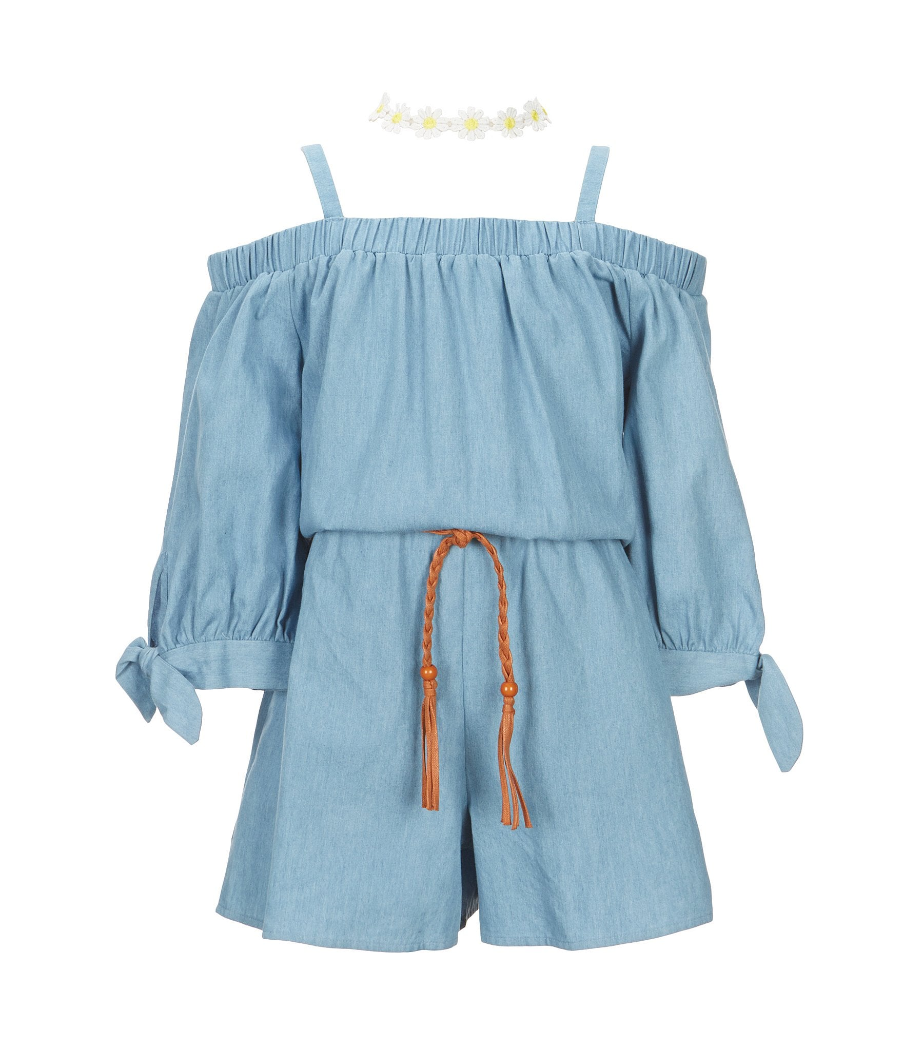 I n girl big girls 7 16 chambray cold shoulder romper for Chambray 7 s