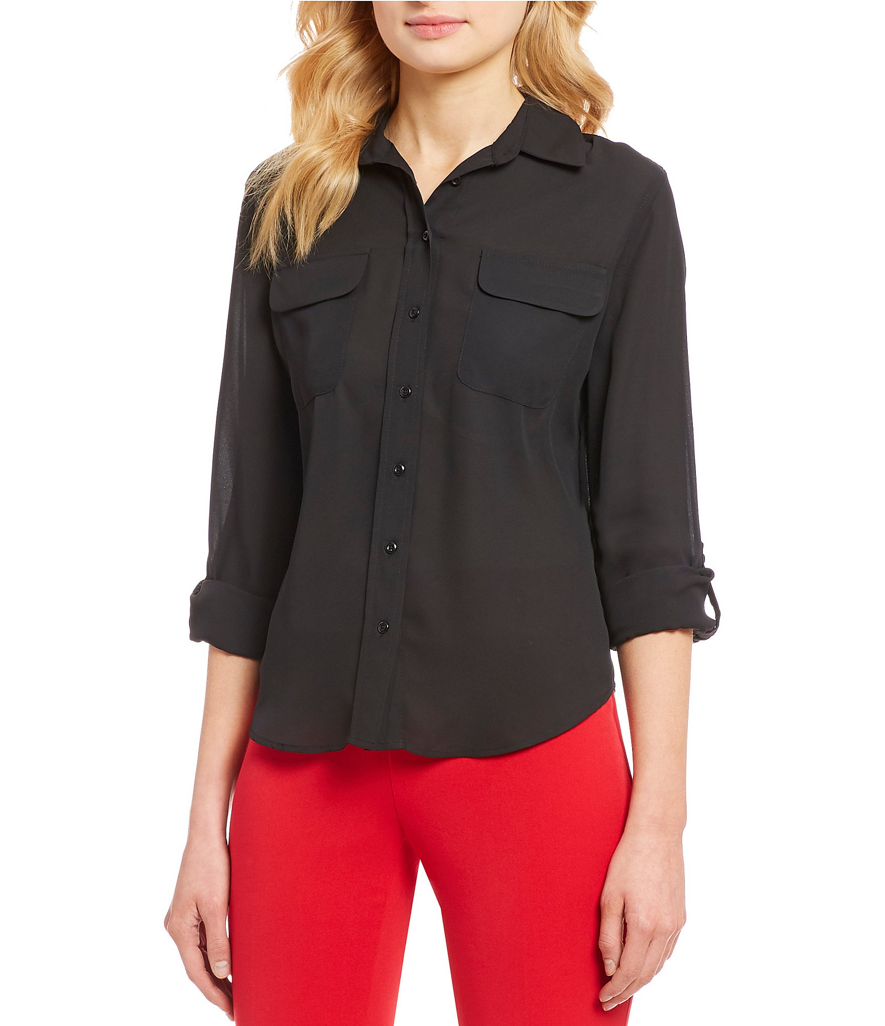 8f0b7eab1a73ef Investments Petite Olivia Long Sleeve Button Front Utility Blouse |  Dillard's