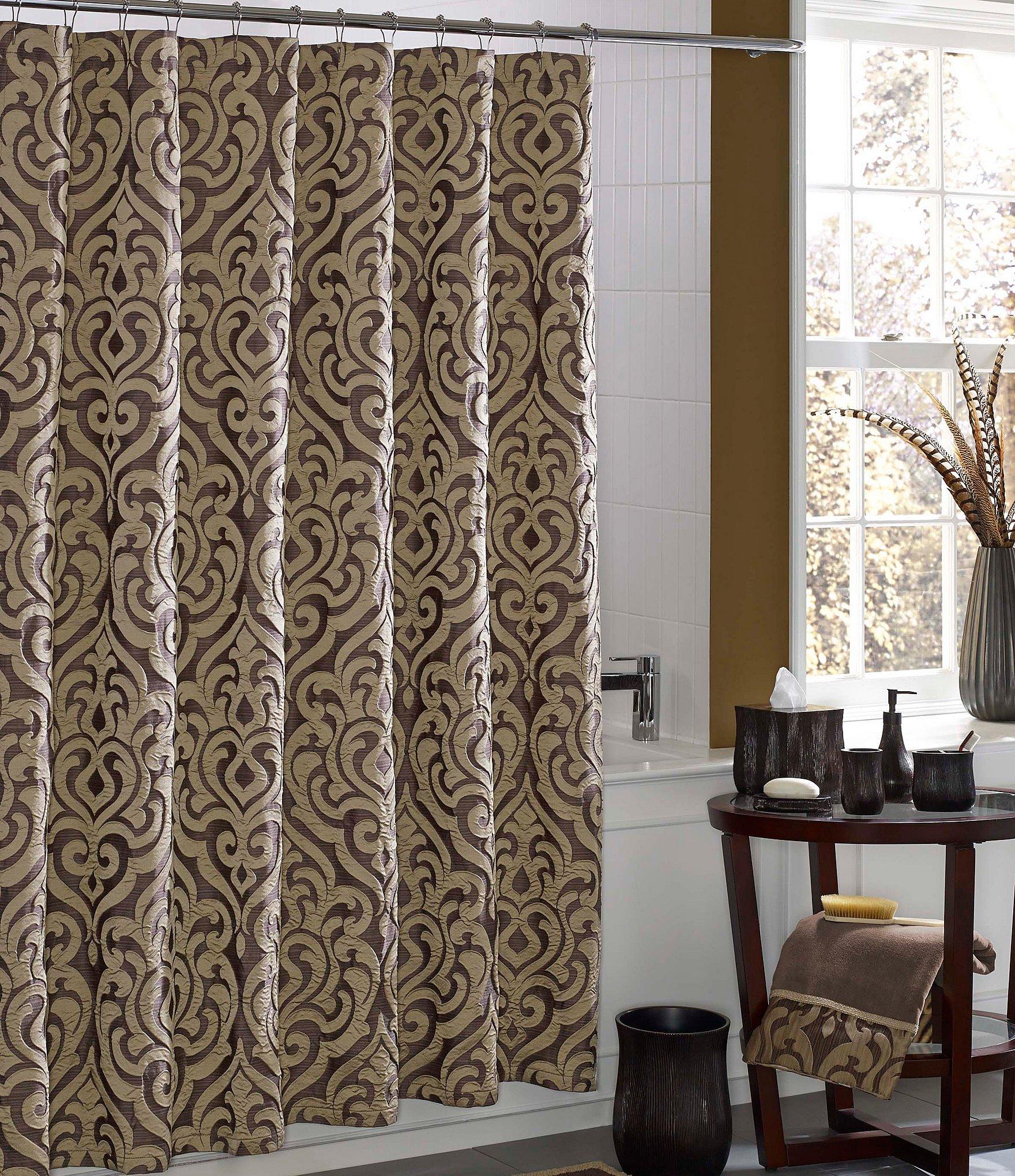 Black and white damask shower curtain - Black And White Damask Shower Curtain 55