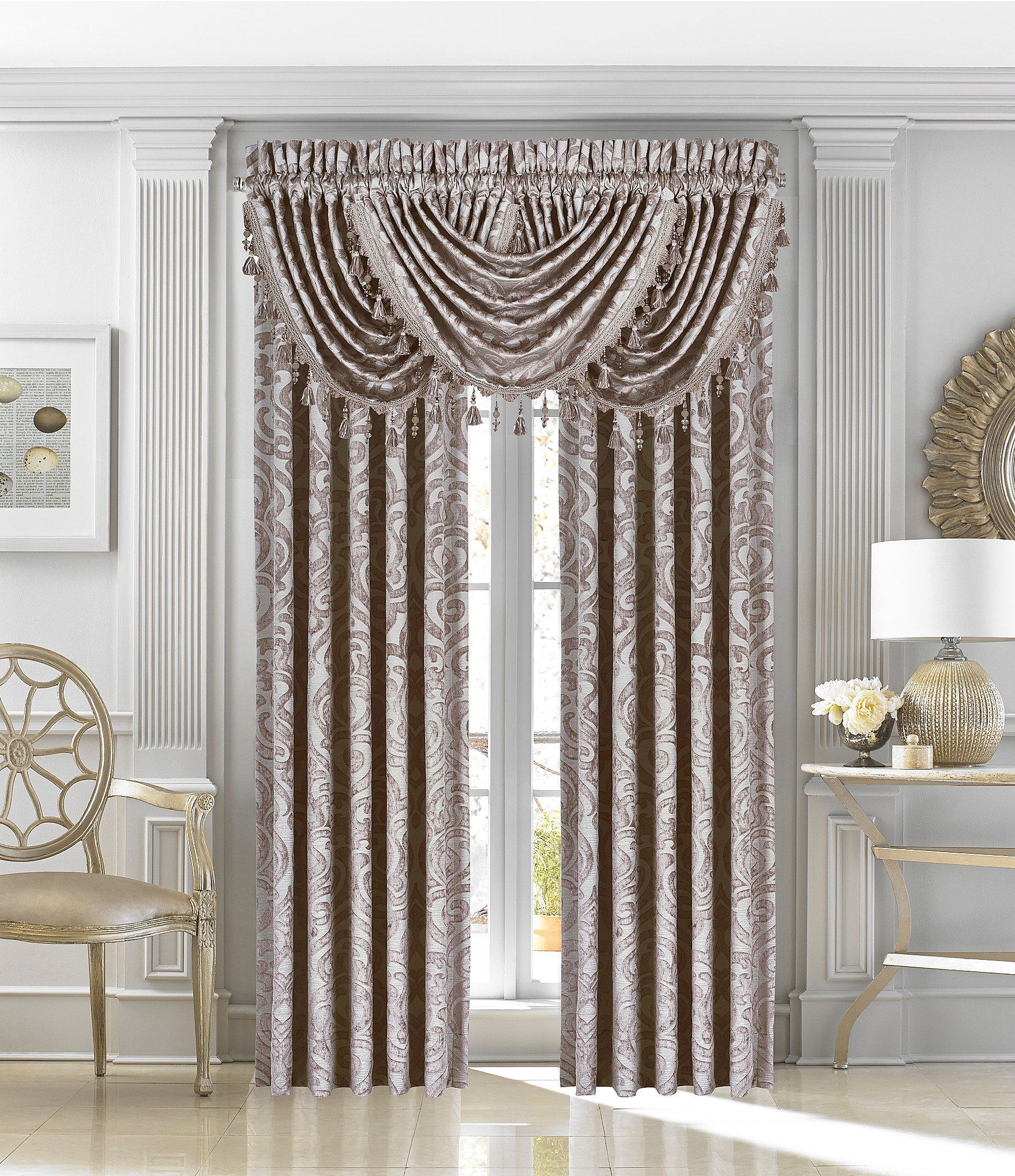 J queen new york sicily damask window treatments dillards for Curtains and drapes nyc