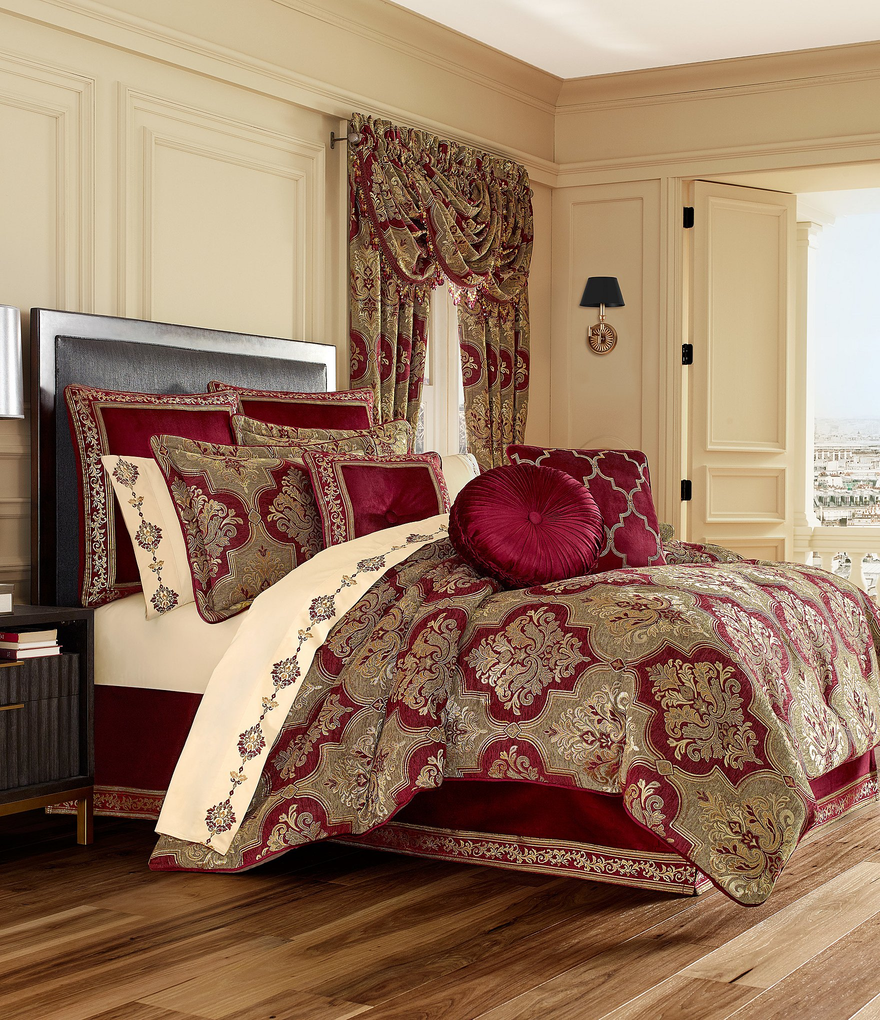 J Queen New York Maribella Crimson Chenille Damask