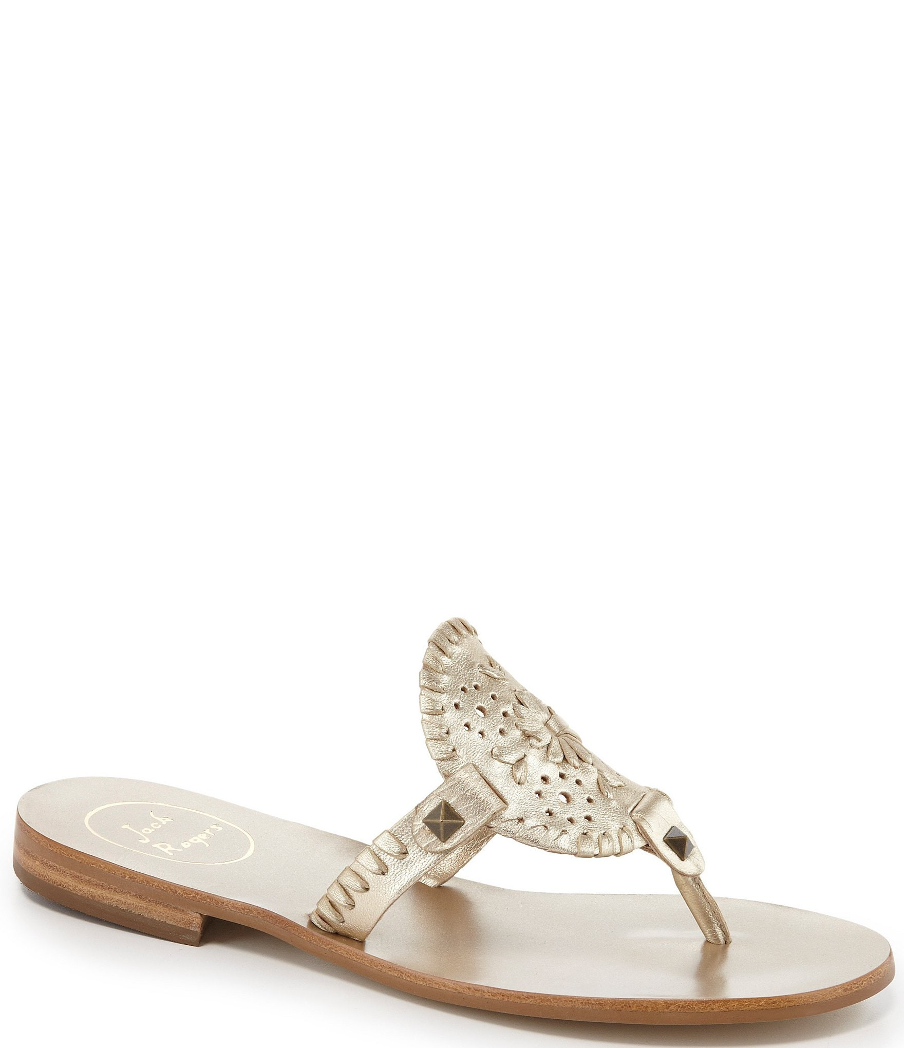 8a4455cb515 Jack Rogers Georgica Studded Leather Whipstitched Slip On Sandals ...