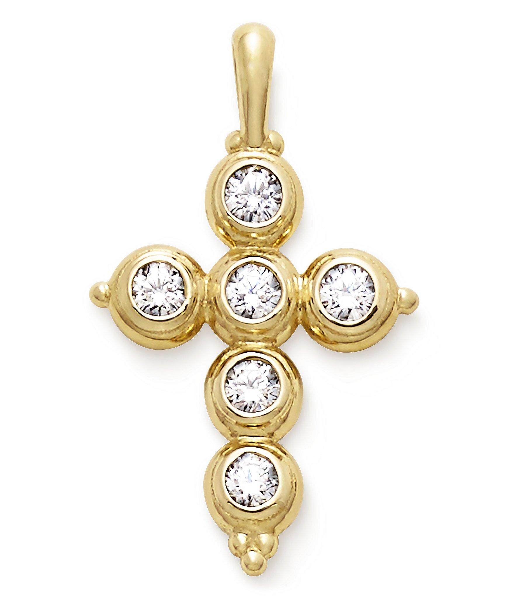 James Avery Mens Cross Necklace: James Avery 14K Gold Antiquity Cross Pendant With Diamonds