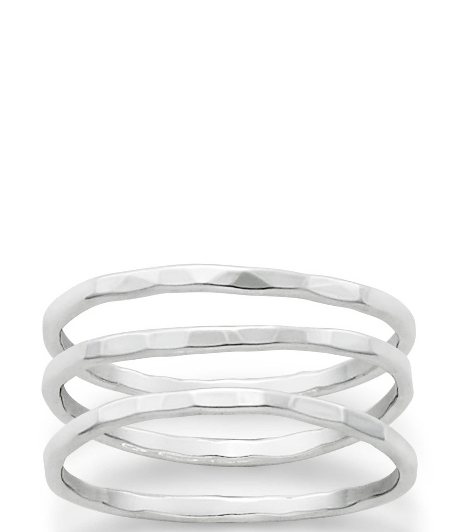 James Avery Sterling Silver Delicate Set of 3 Forged Rings ...