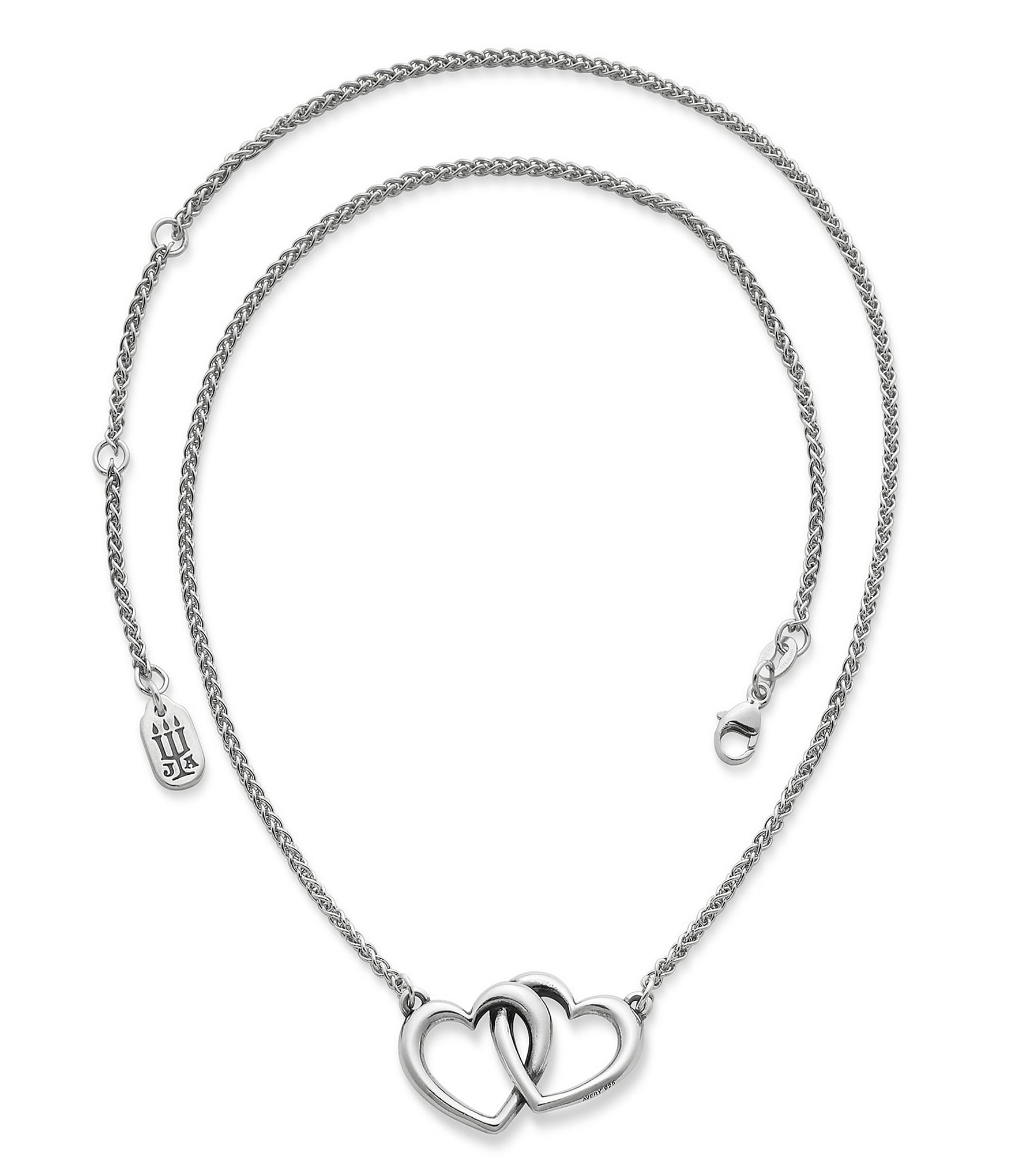 Single Line Beads: James Avery Sterling Silver Double Heart Linked Necklace
