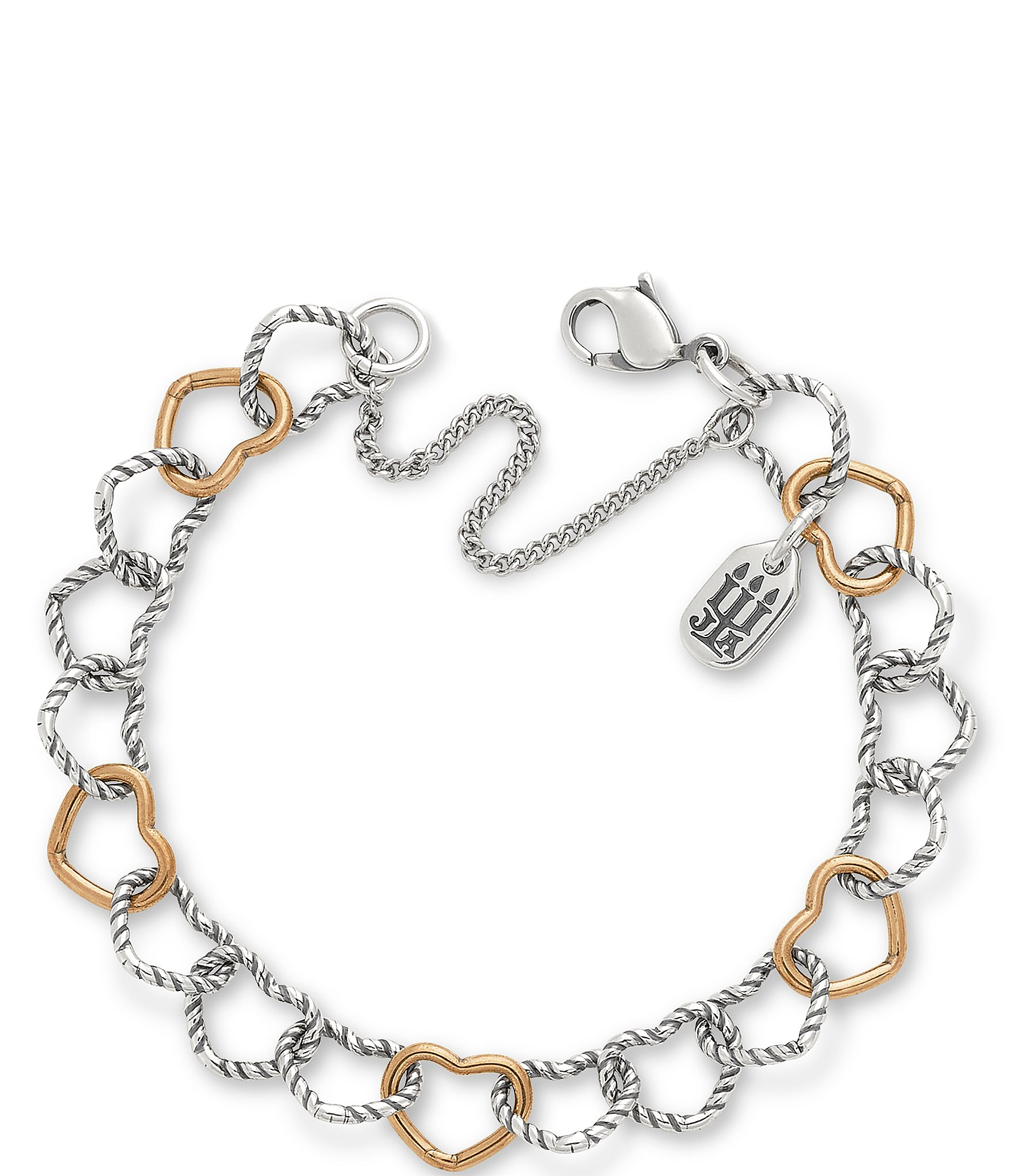 James Avery Twisted Wire Connected Hearts Charm Bracelet