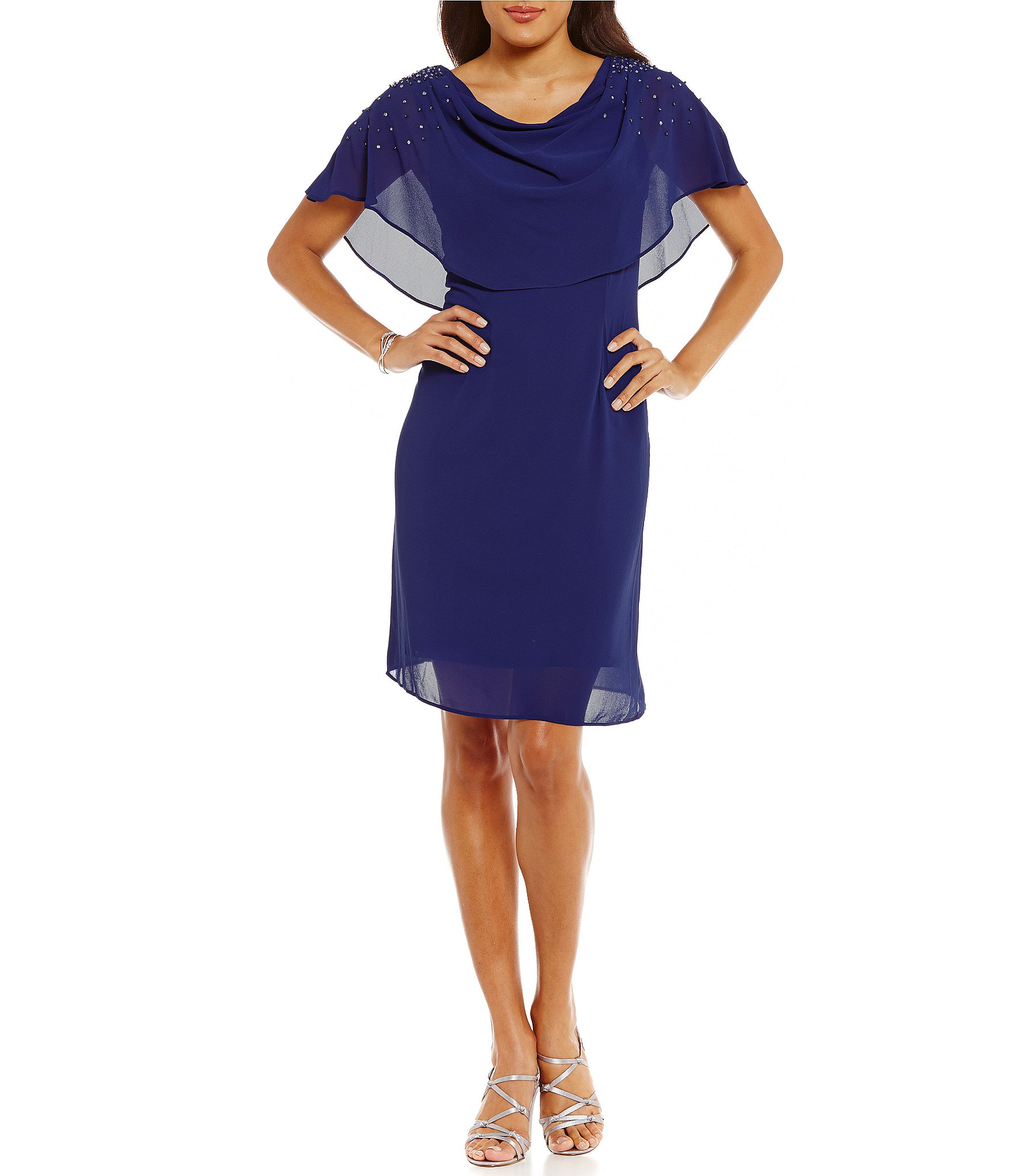 Jessica Howard Bead Trim Draped Neck Dress Dill
