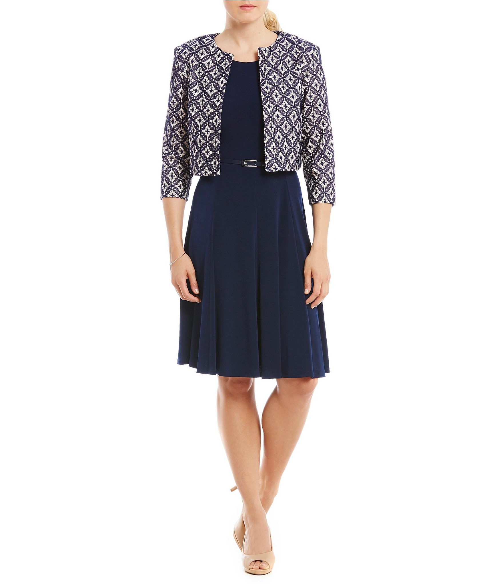 Navy Dress With Tan Shoes