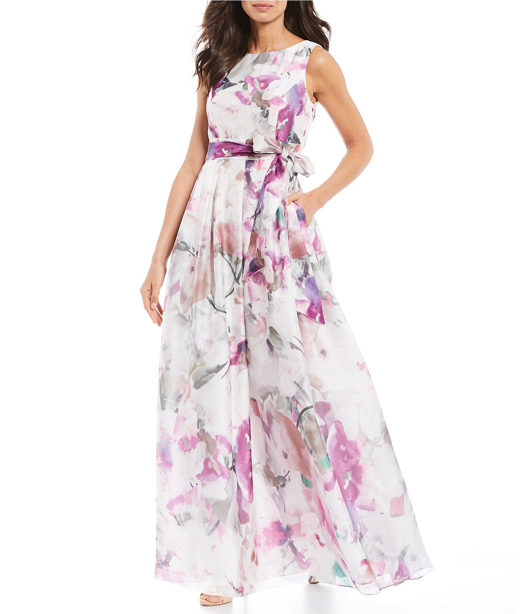 eec07e6ed5f5 Jessica Howard Floral Print Sleeveless Pleated Gown | Dillard's