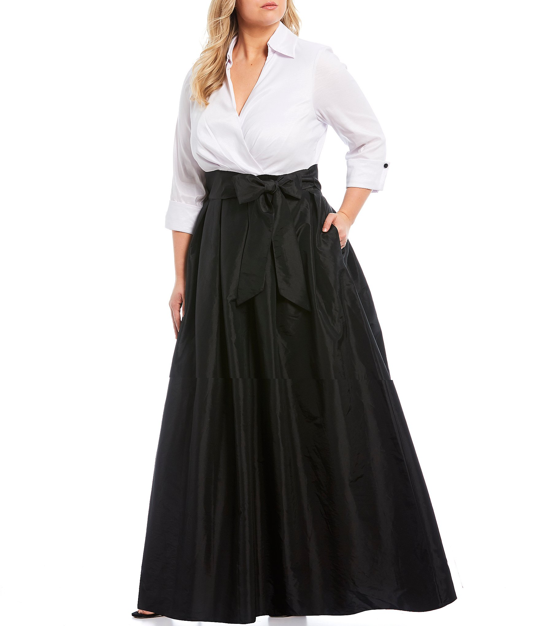 Jessica Howard Plus Size Color Block Notch Collar Taffeta Ballgown