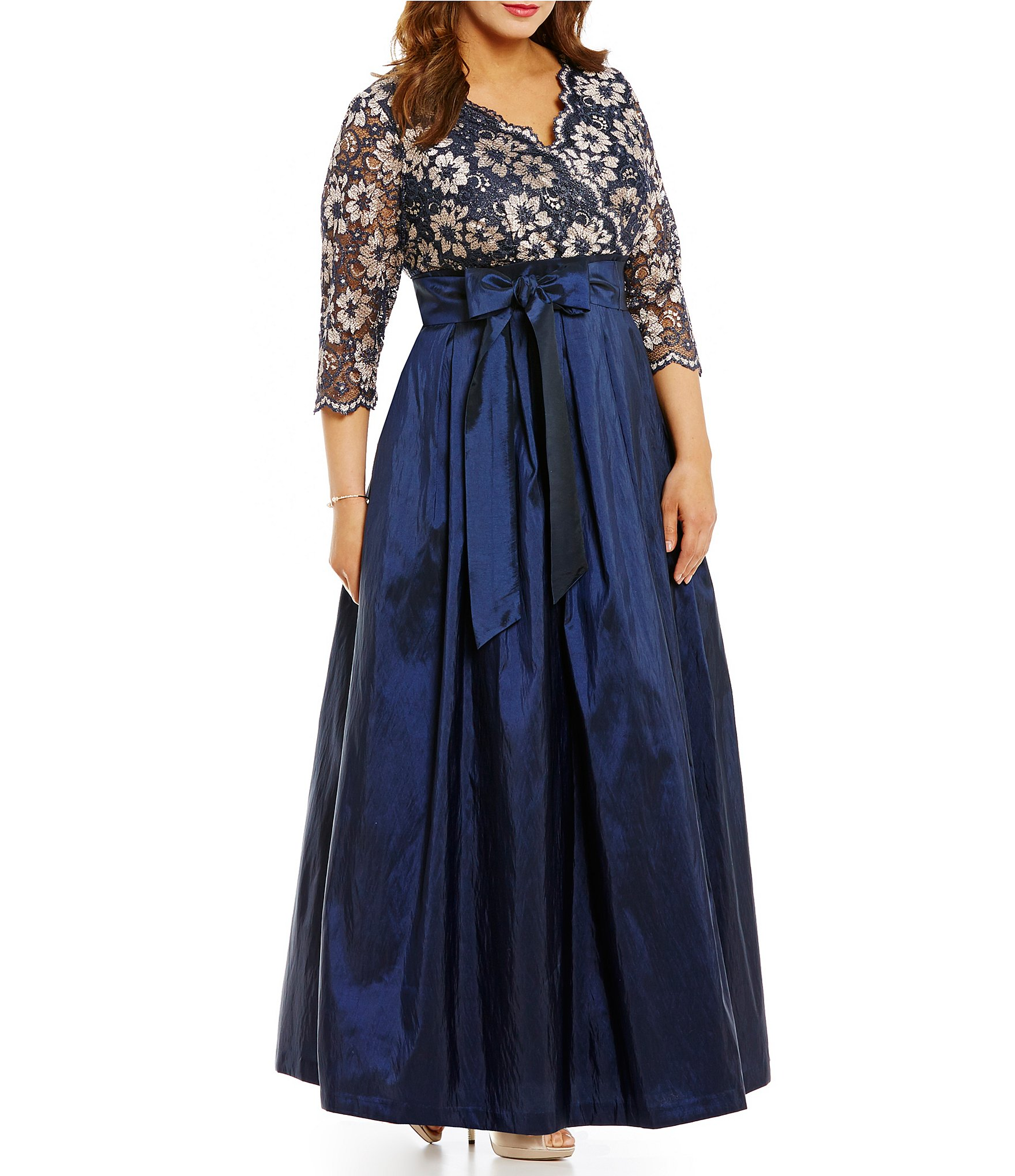 bebf6120dd30 Jessica Howard Plus V-Neck 3/4 Sleeve Lace A-Line Ballgown | Dillard's