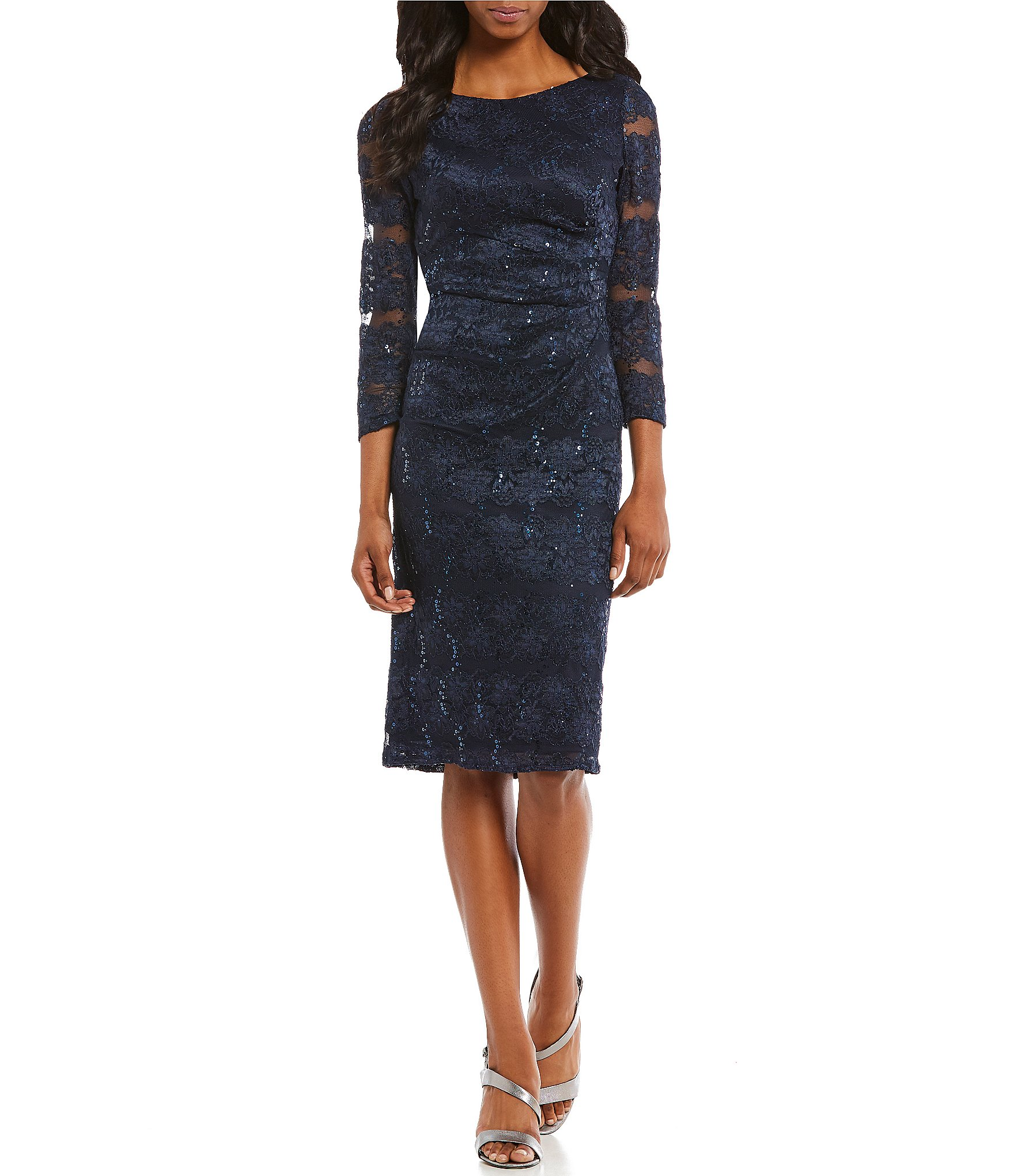 Jessica Howard Sequined Lace Ruched Sheath Dress Dillards
