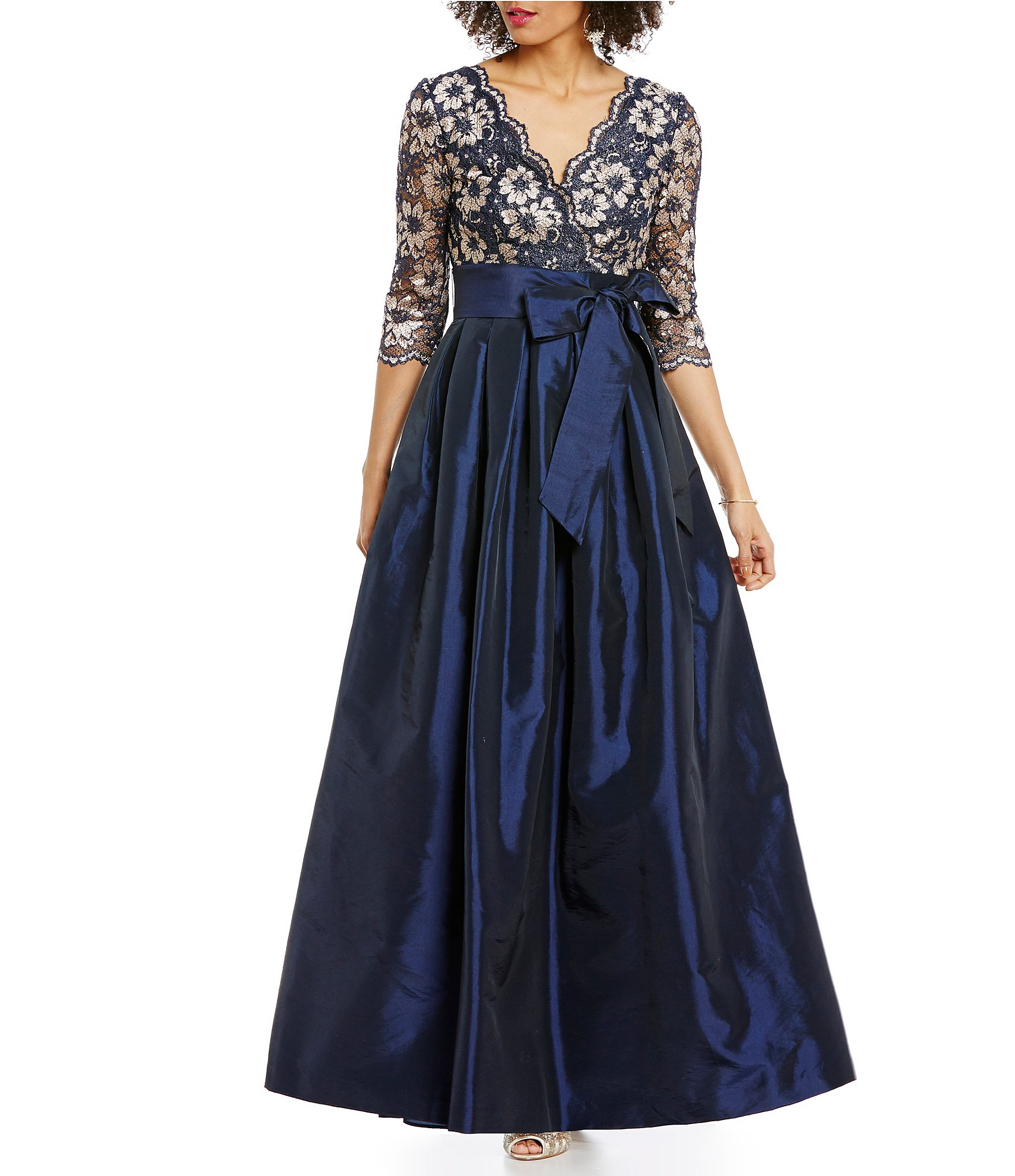 Jessica Howard V Neck 3 4 Sleeve Lace Taffeta Ballgown