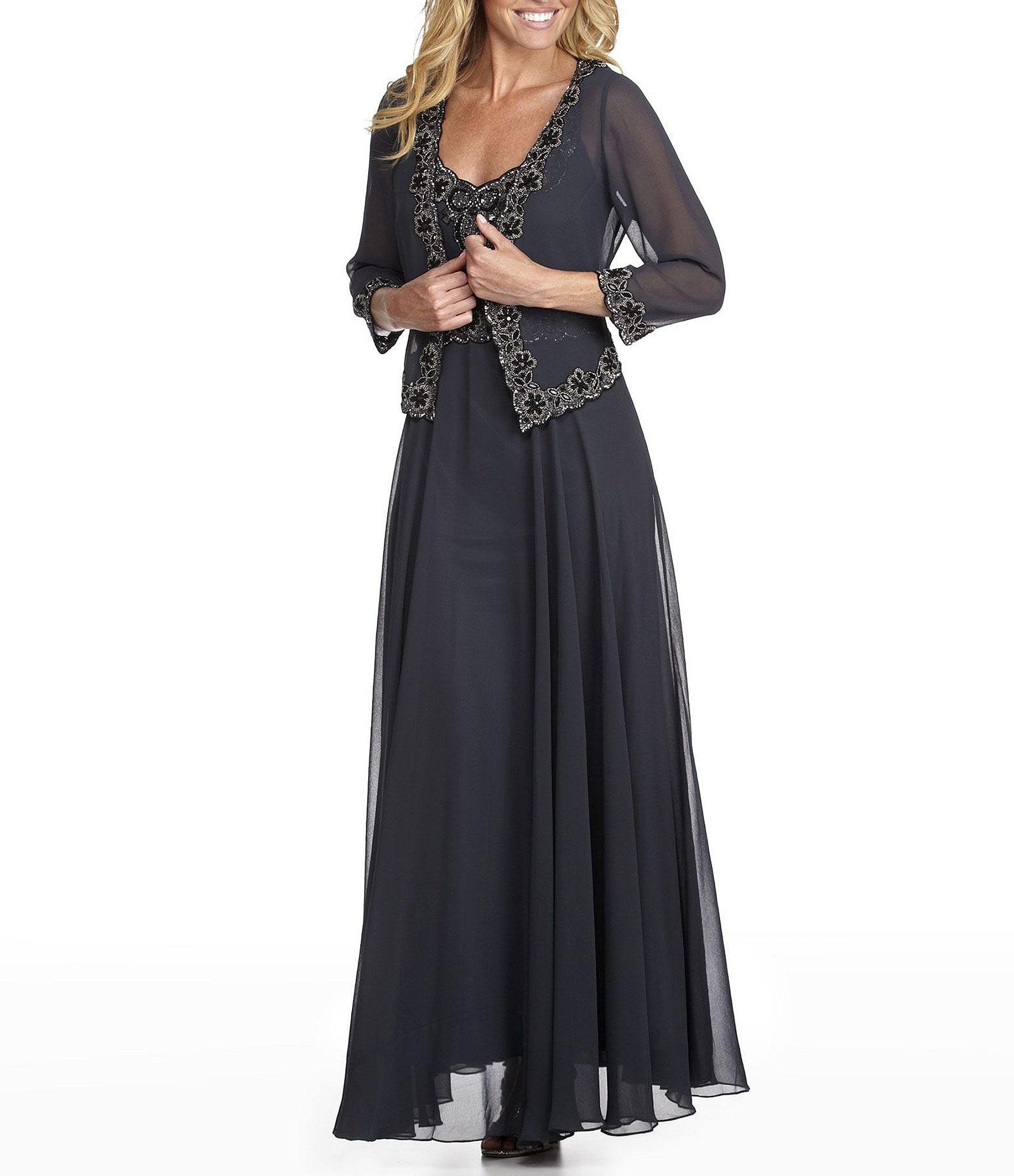 Jkara Plus Beaded Chiffon Jacket Dress Dillards