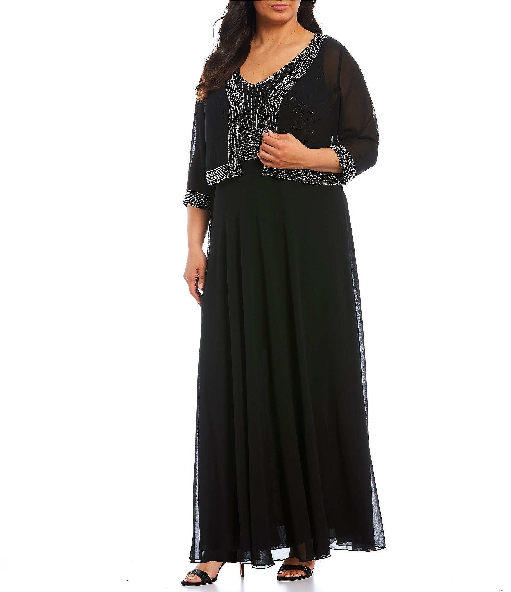 Jkara Plus Size Beaded Bodice Chiffon Jacket Dress