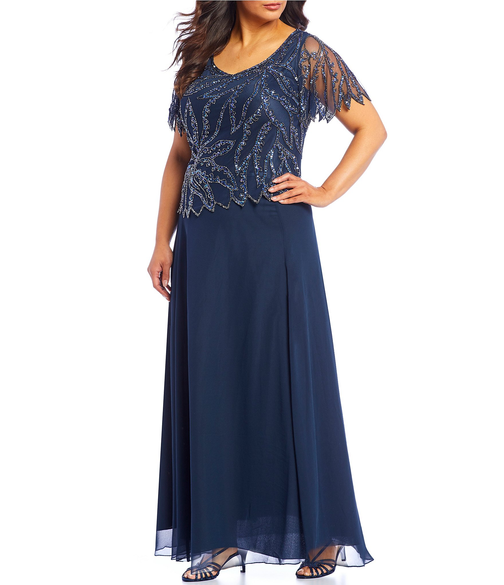 Jkara Plus Size Beaded Short Sleeve Long Gown