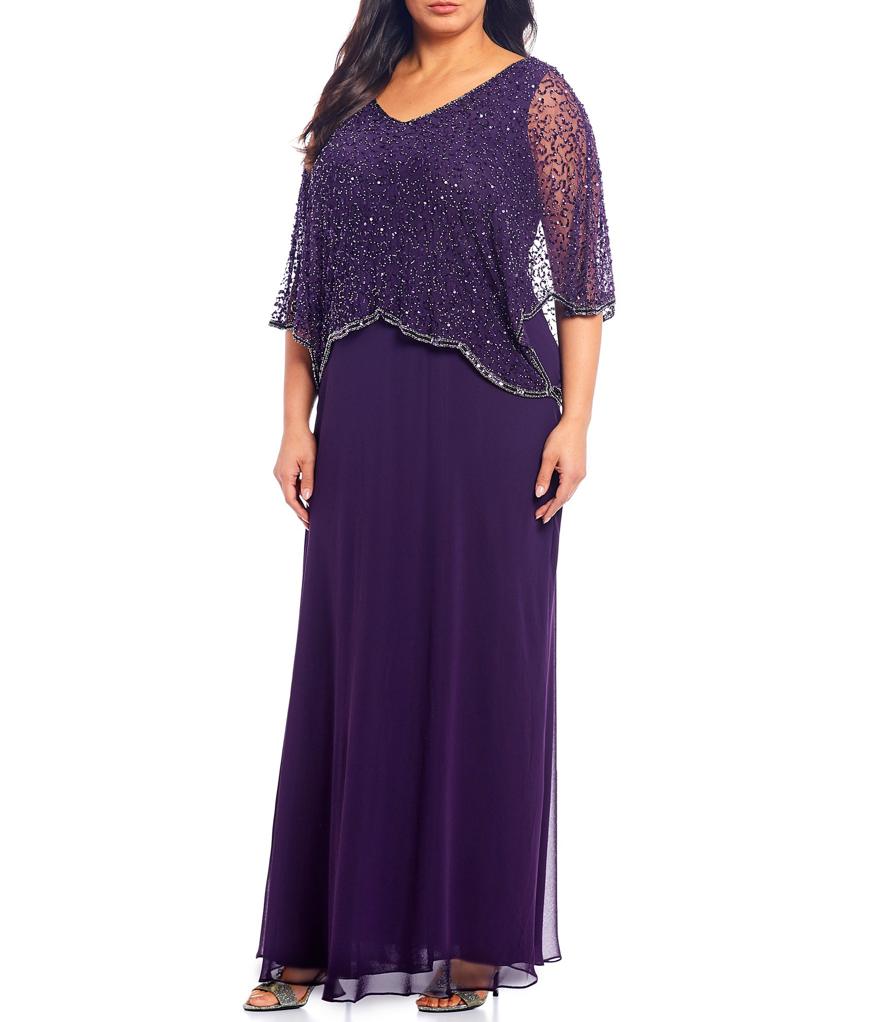 Jkara Plus Size Sequin Beaded V,Neck 3/4 Sleeve Popover Gown