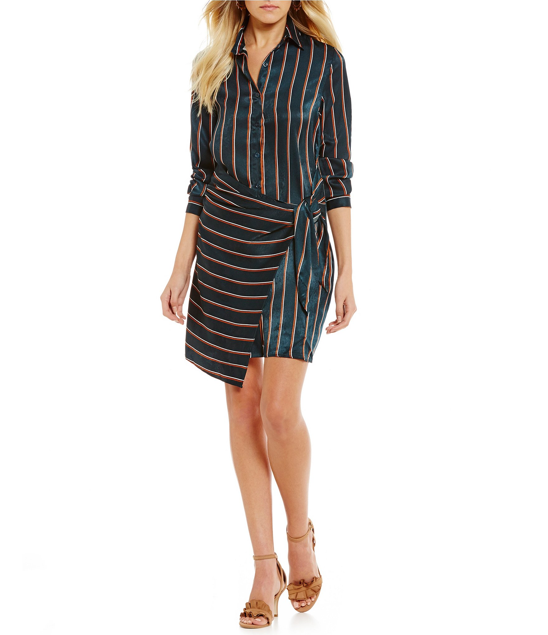 J O A Striped Tie Waist Wrap Shirt Dress Dillards