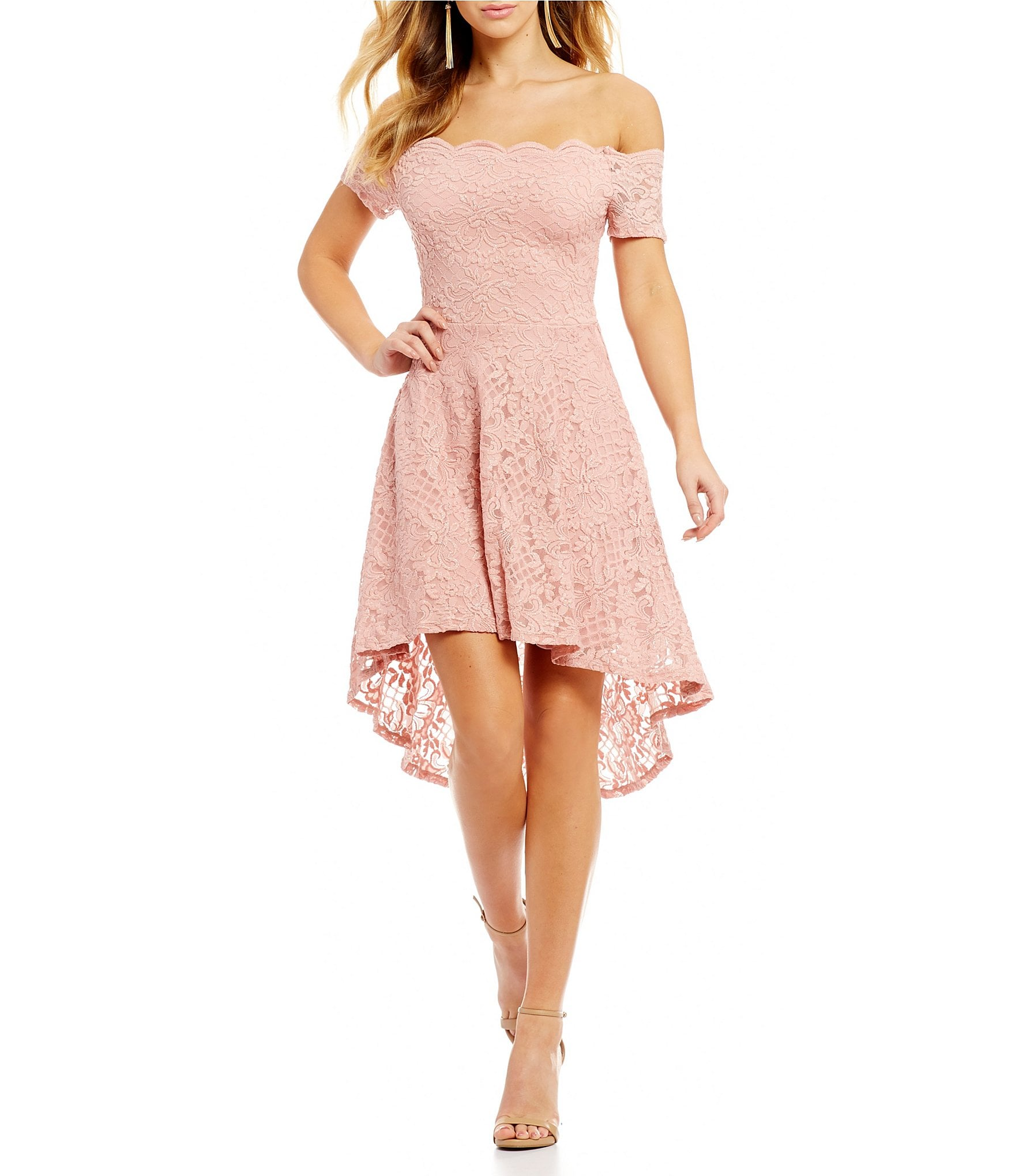 Jodi Kristopher Off The Shoulder Lace High Low Dress