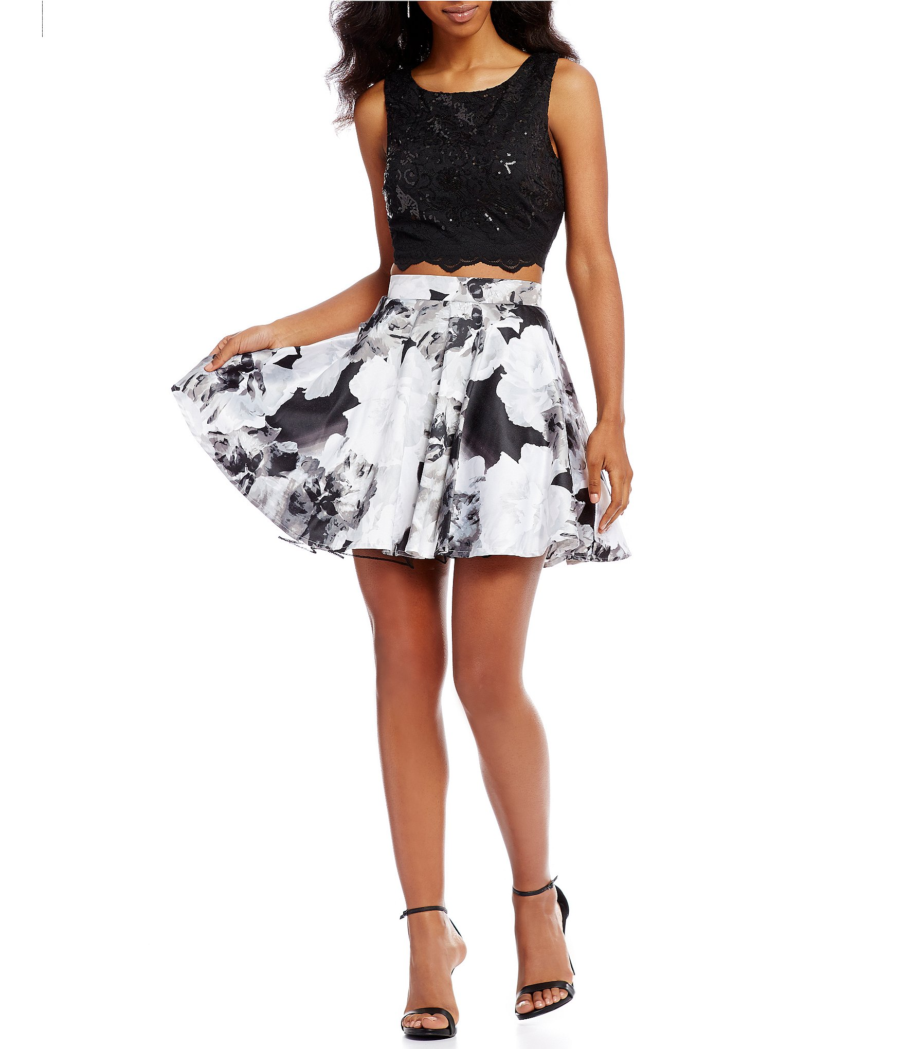 jodi kristopher sequin lace top with floral print skirt