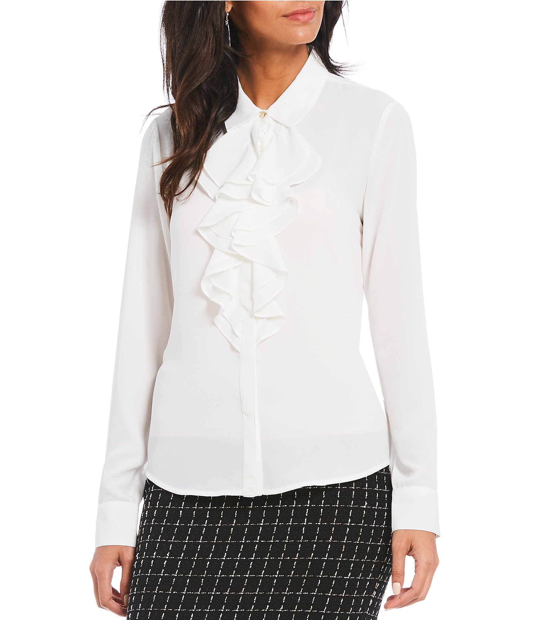 0ad709ad20f KARL LAGERFELD PARIS Ruffle Front Blouse