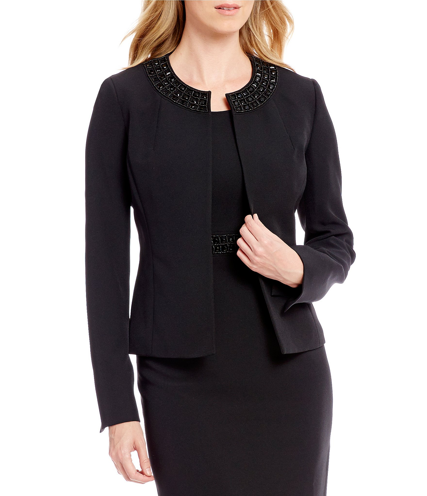 Circle Track Supply >> Kasper Embellished-Neck Jacket | Dillards