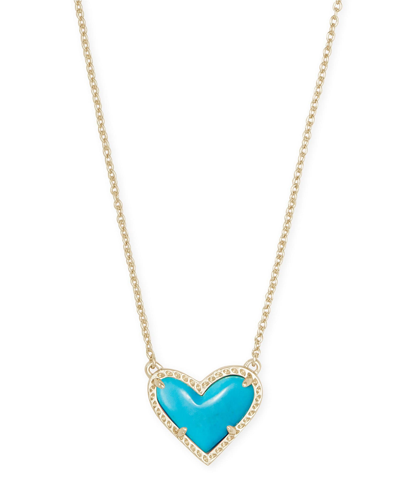 Cool and Interesting Simulated Turquoise Moon Necklace Gold Plated