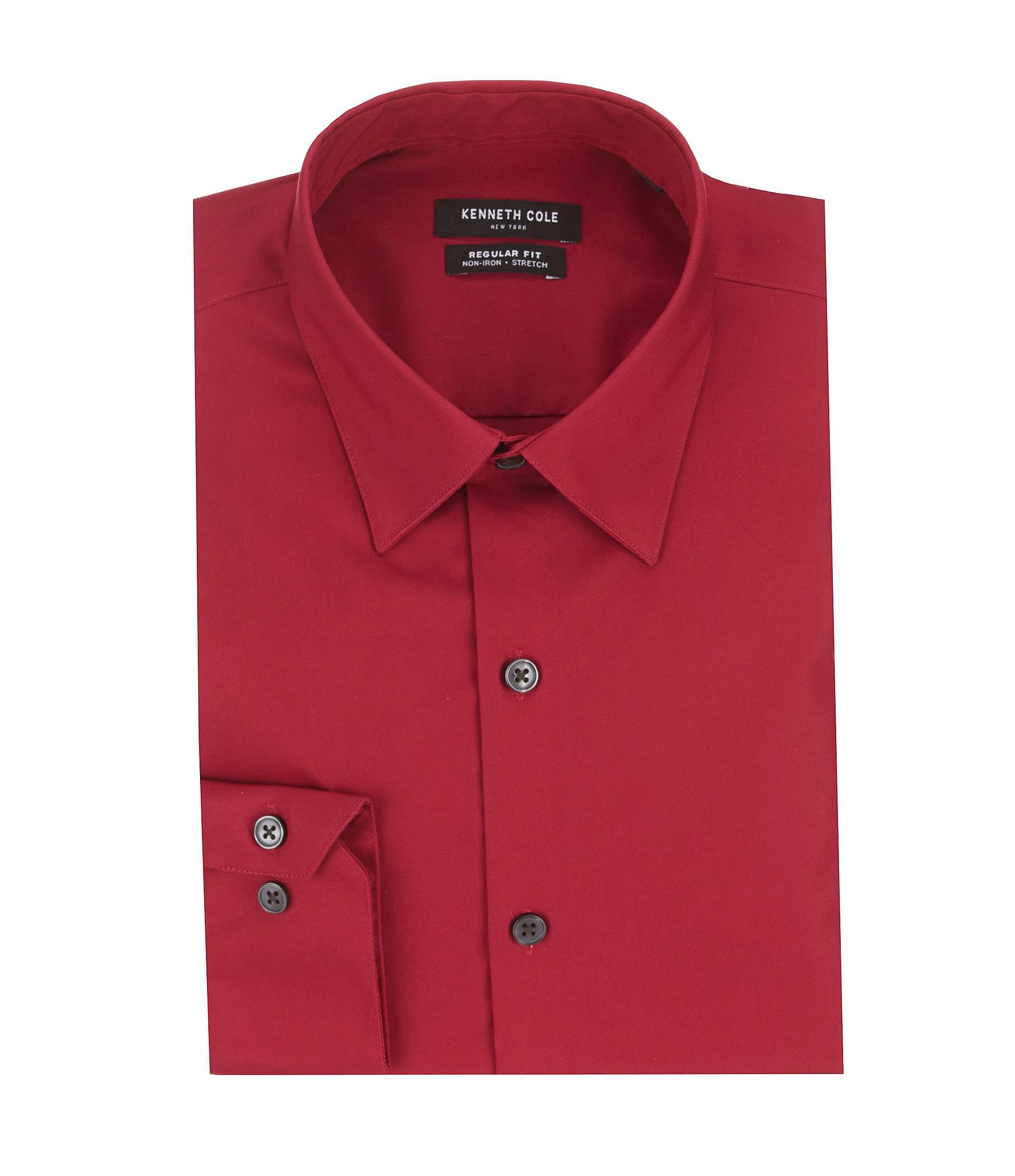 Kenneth cole new york non iron stretch regular fit point for Dress shirt collar fit