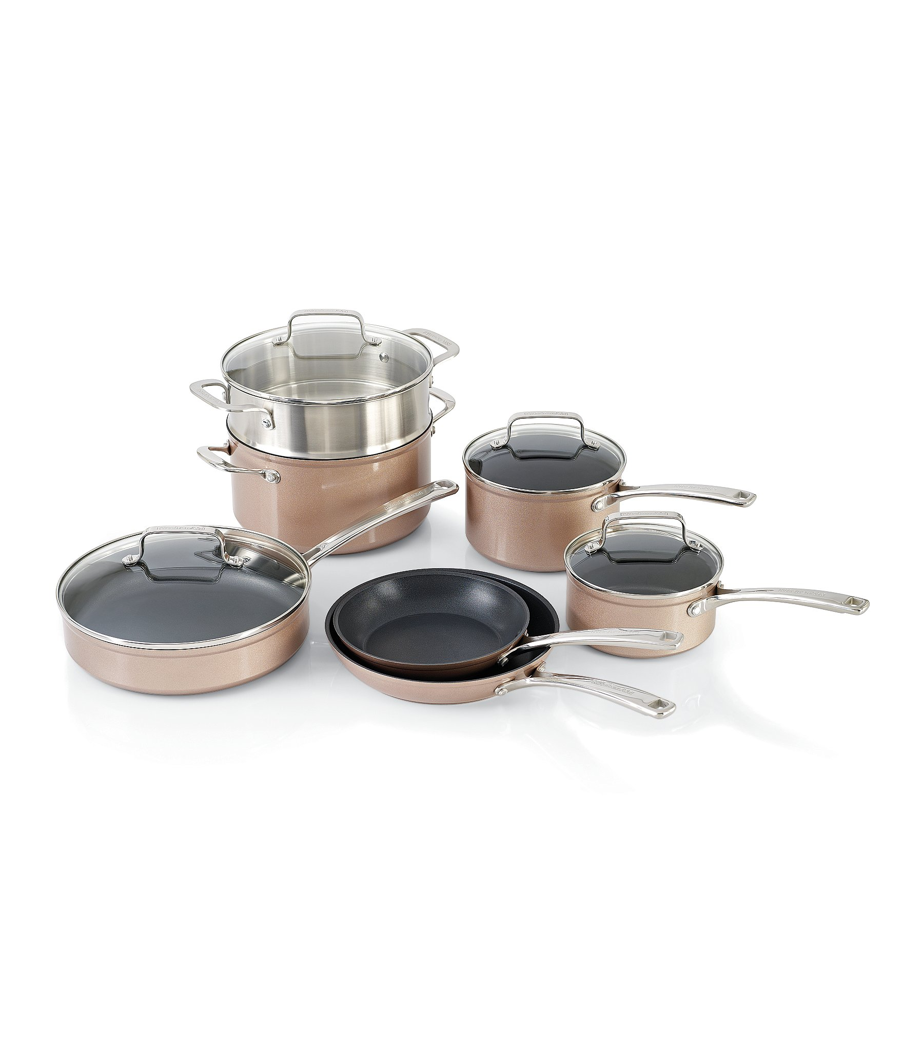 Kitchenaid toffee delight hard anodized nonstick 11 piece cookware set dillards - Kitchenaid aluminum nonstick piece cookware set ...