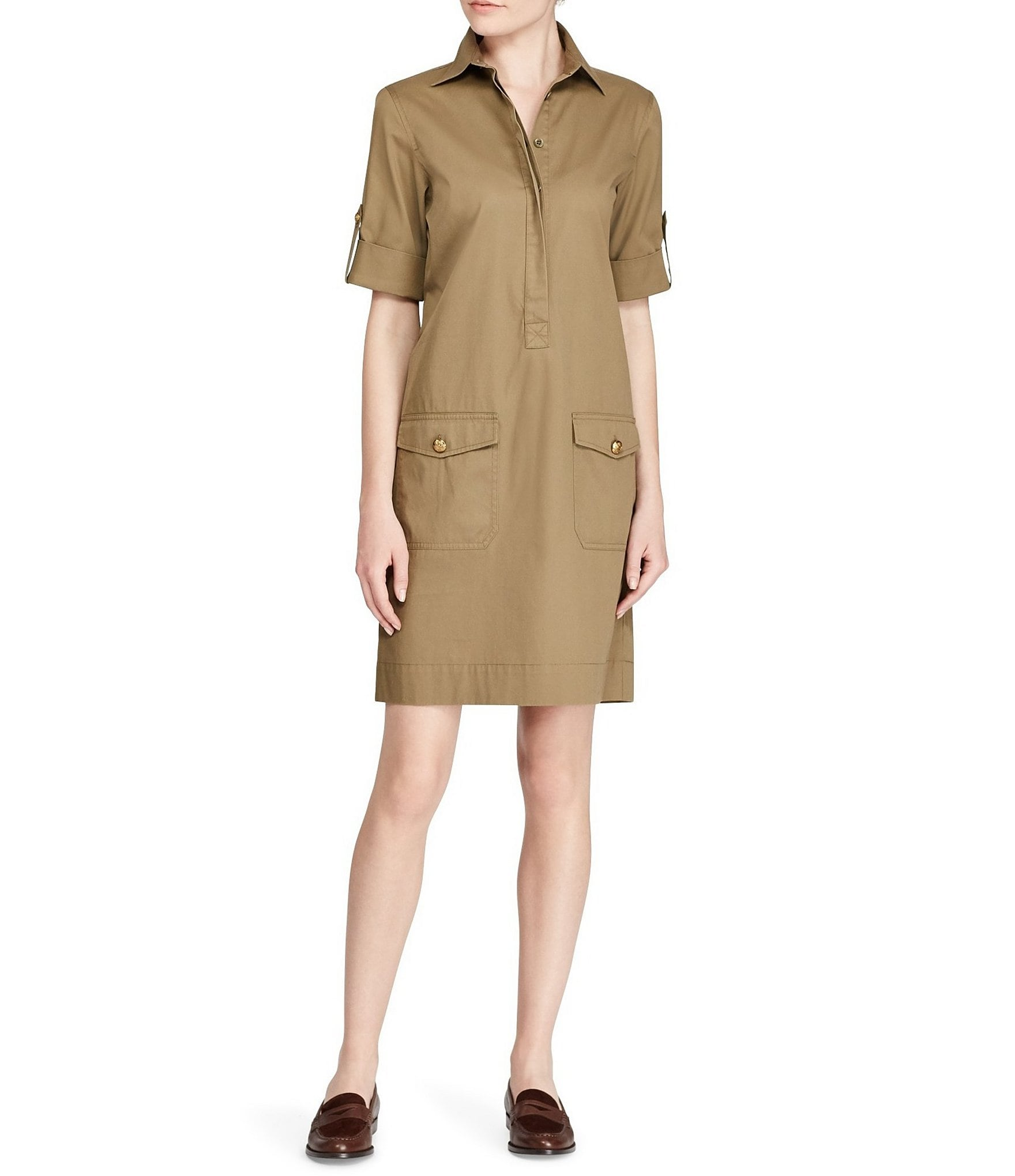 Lauren Ralph Lauren Väskor : Lauren ralph cotton twill shift dress dillards