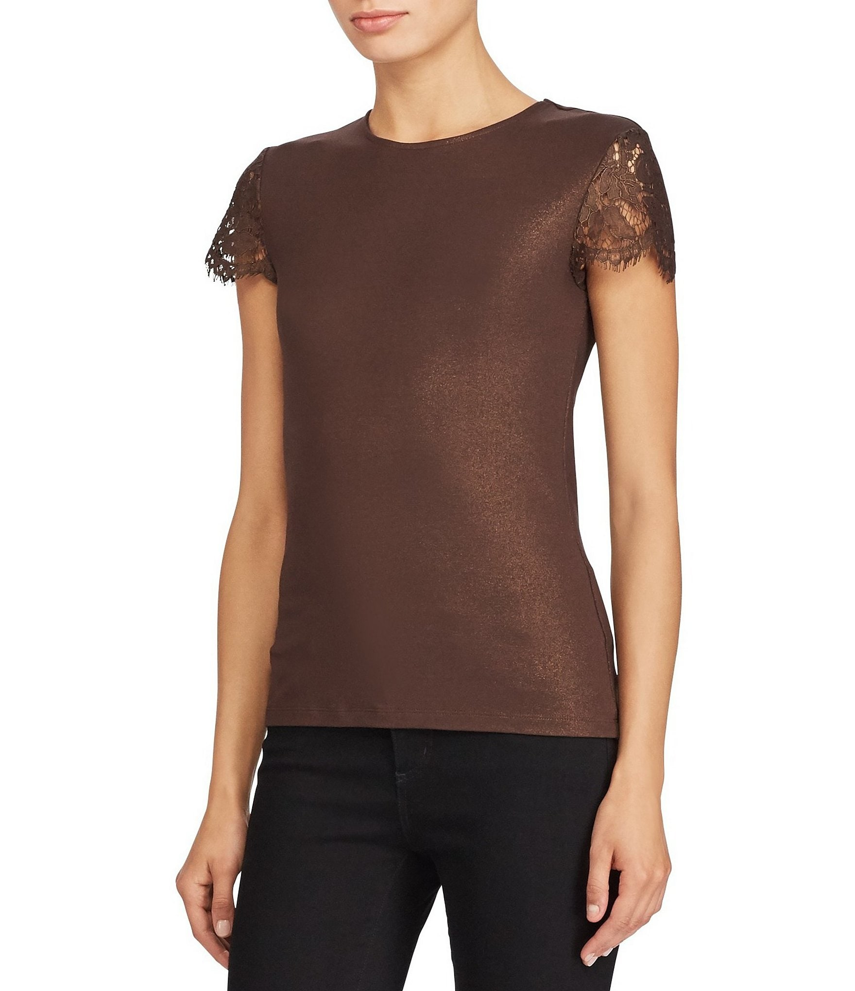lauren ralph lauren lace sleeve t shirt dillards