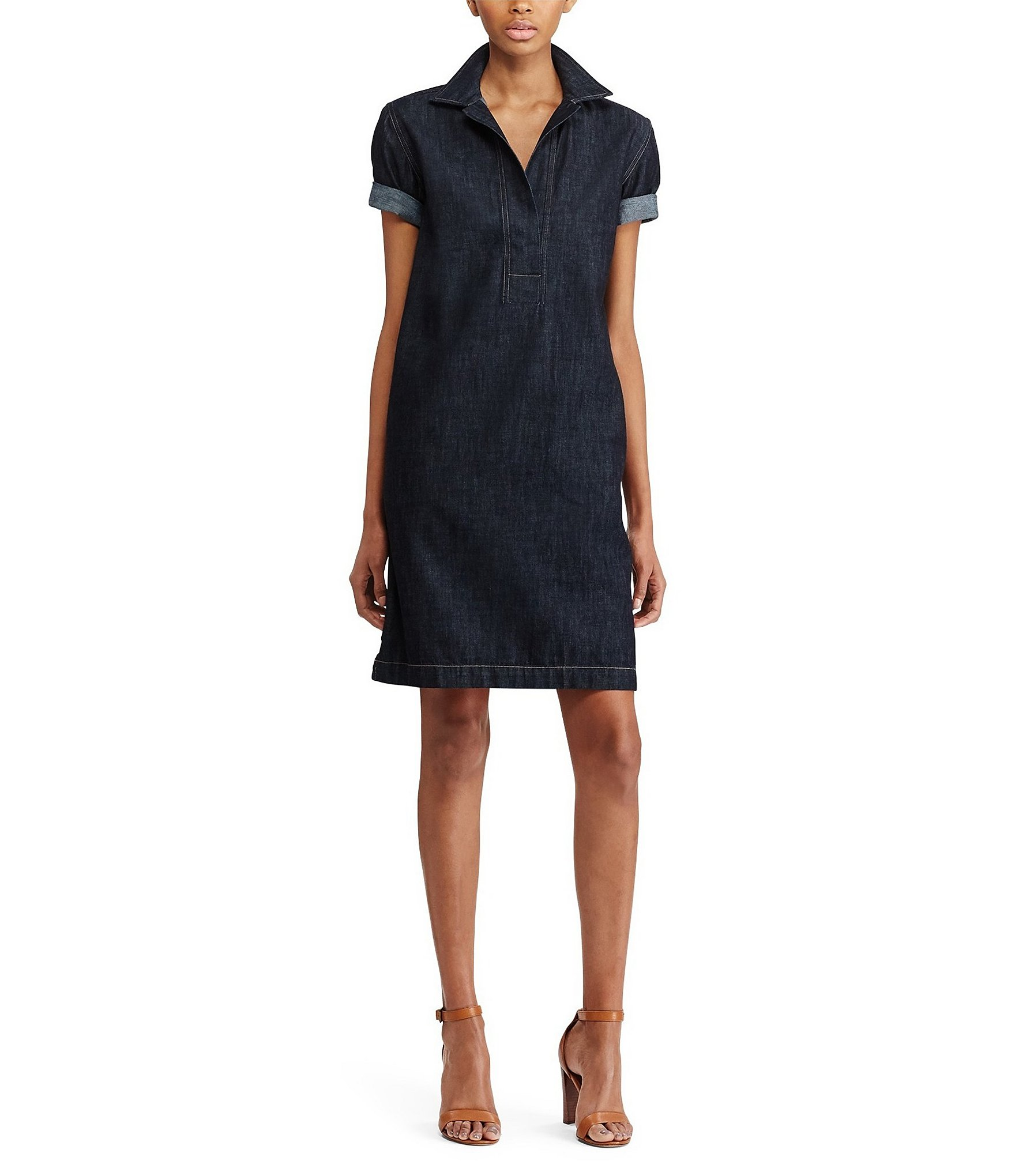 Lauren Ralph Lauren Väskor : Lauren ralph petite denim shift dress dillards