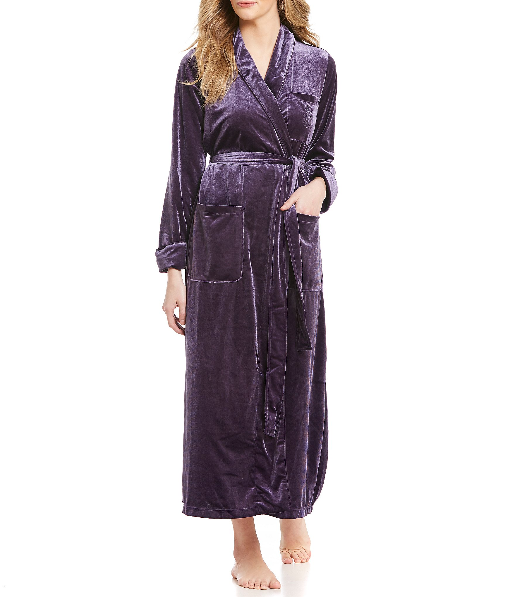 lauren ralph lauren velvet wrap robe dillards. Black Bedroom Furniture Sets. Home Design Ideas