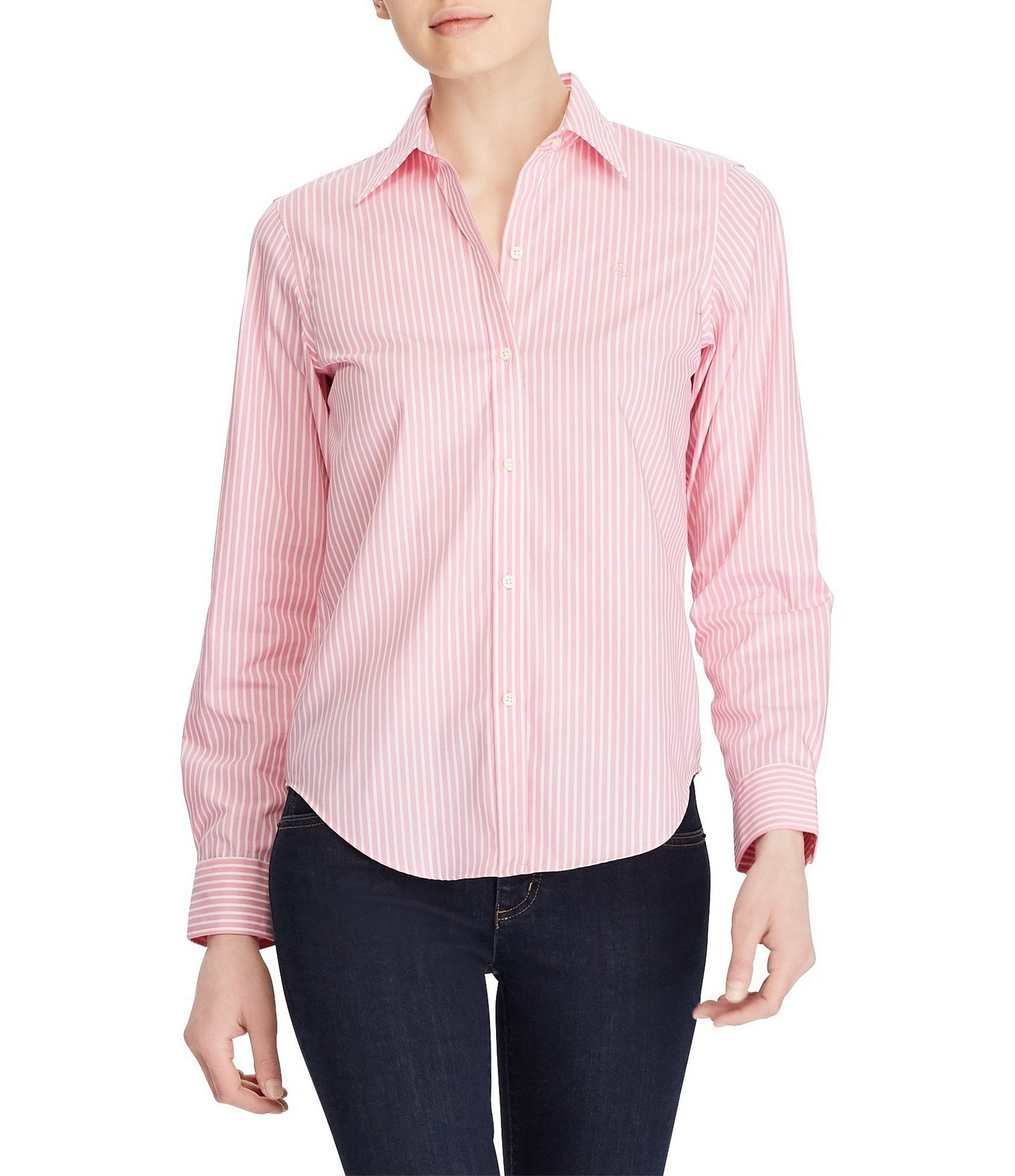 Lauren ralph lauren wrinkle free striped dress shirt for Best wrinkle free dress shirts