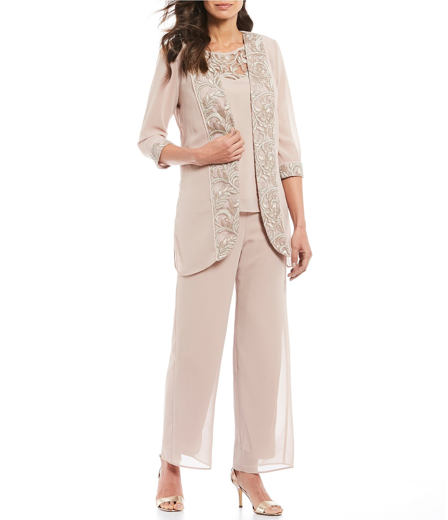 Dressy Pantsuits For A Wedding.Le Bos 3 Piece Embroidered Trim Duster Pant Set