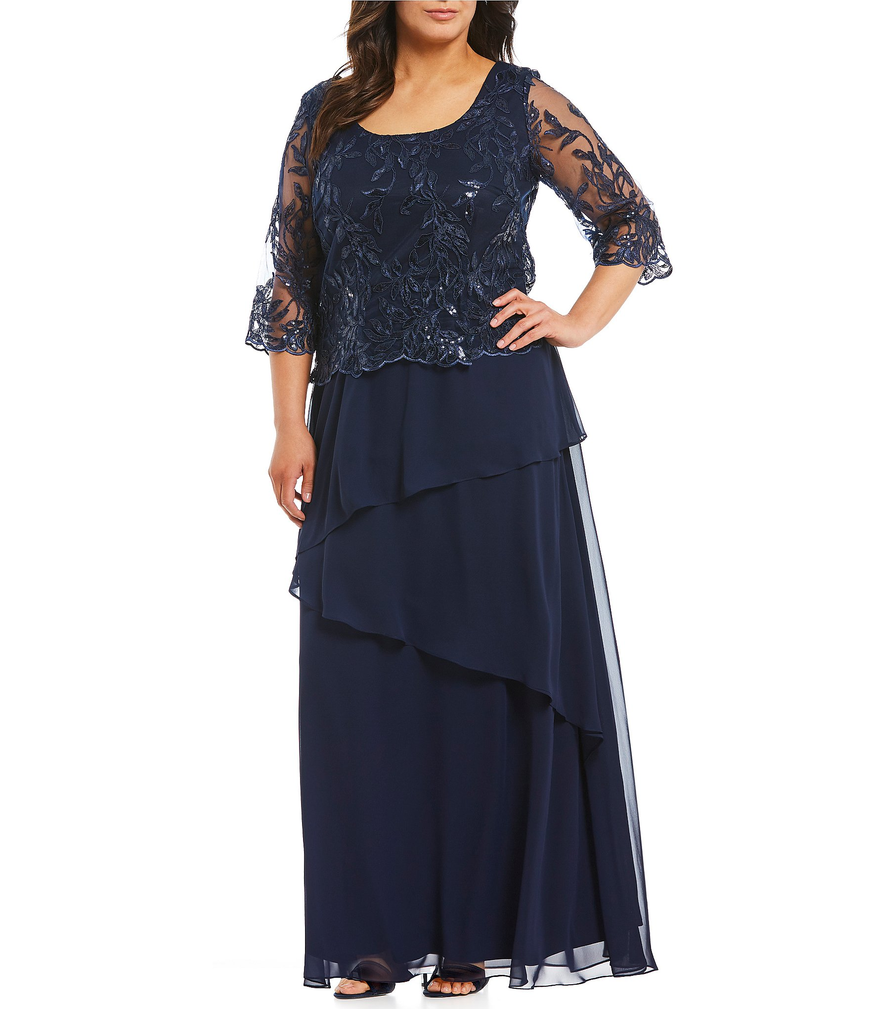 Plus Size Mother Bride Dresses: Le Bos Plus Embroidered Bodice Gown