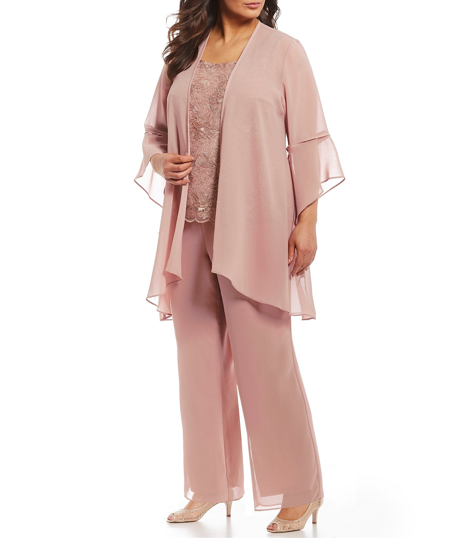 Le Bos Plus Size 3-Piece Bell Sleeve Duster Pant Set