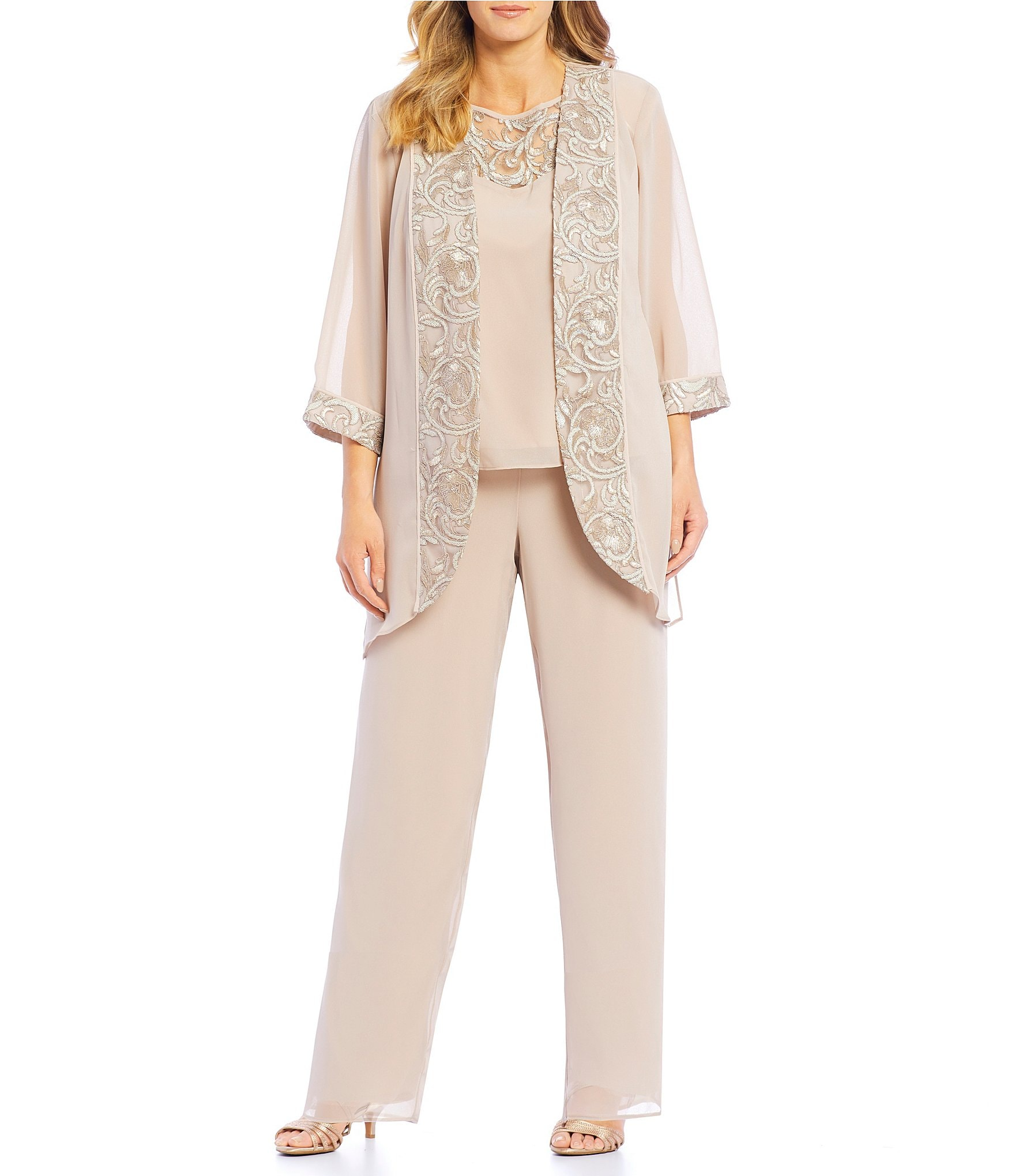 top-rated fashion online shop coupon codes Le Bos Plus Size 3-Piece Embroidered Trim Duster Pant Set