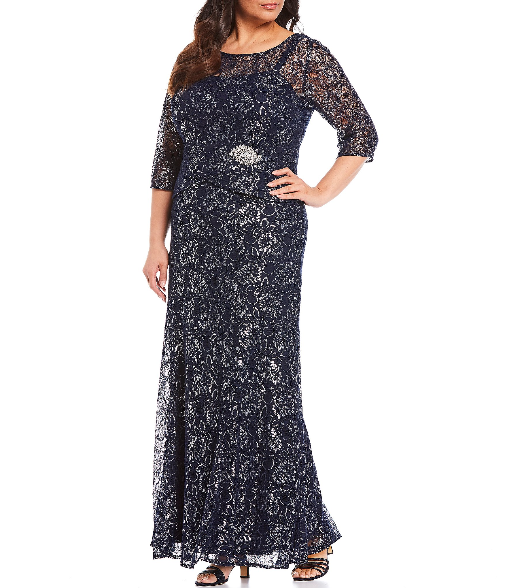Le Bos Plus Size Metallic Lace Peplum Long Gown