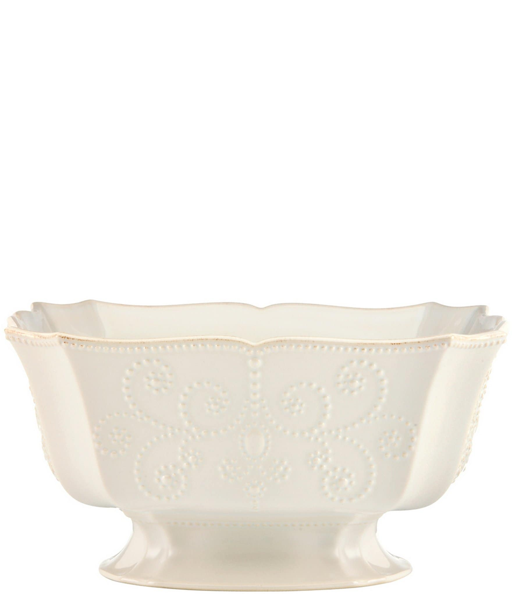 Lenox french perle scalloped stoneware centerpiece bowl