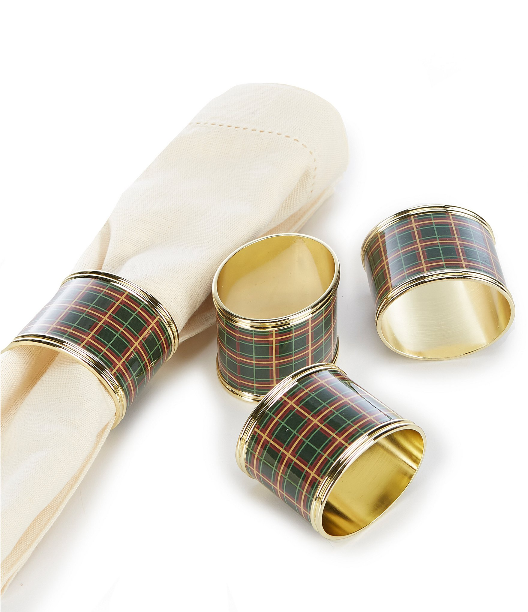 Lenox Holiday Nouveau Plaid Napkin Rings Set Of 4 Dillard S