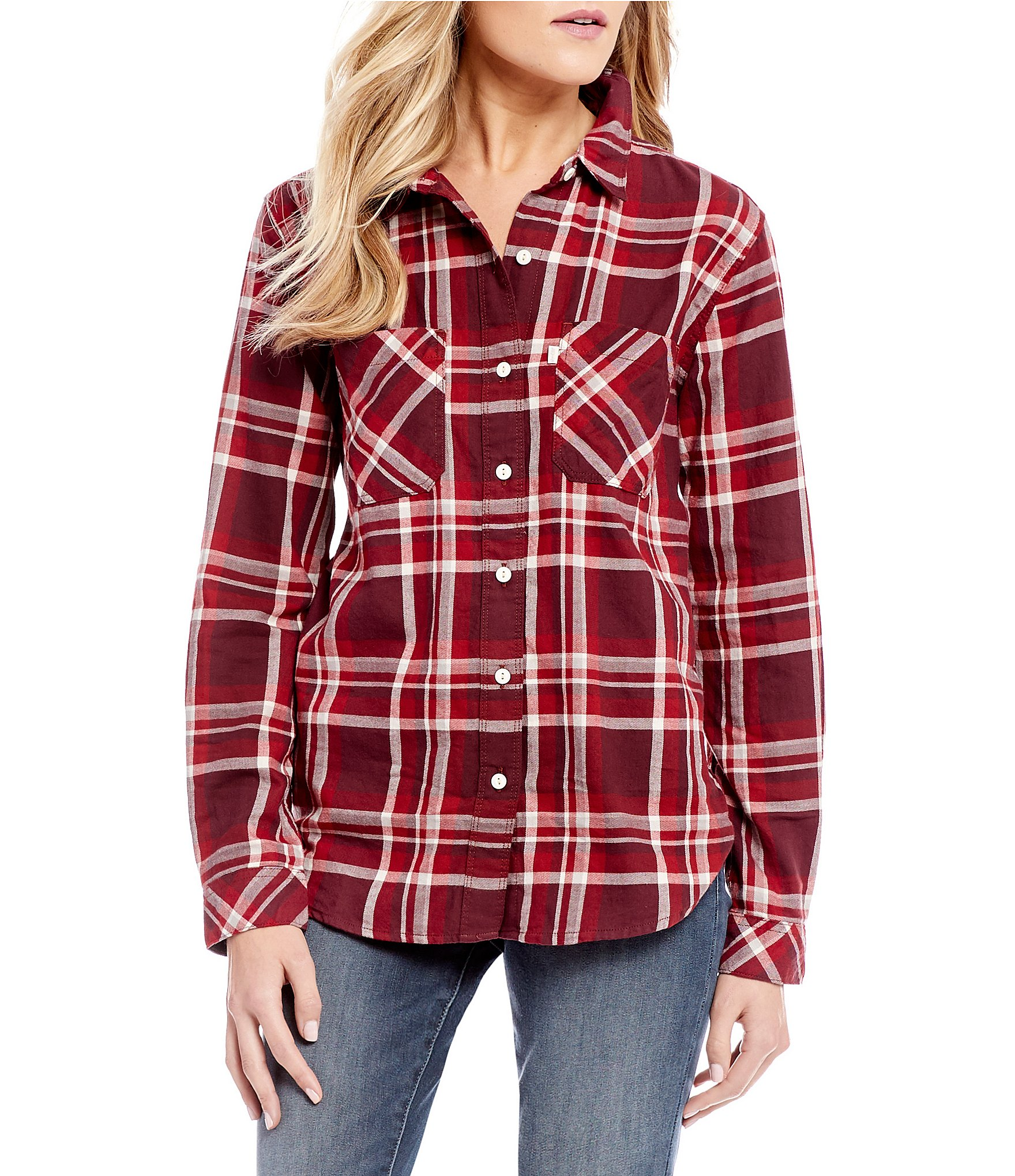 levis plaid workwear boyfriend shirt dillards