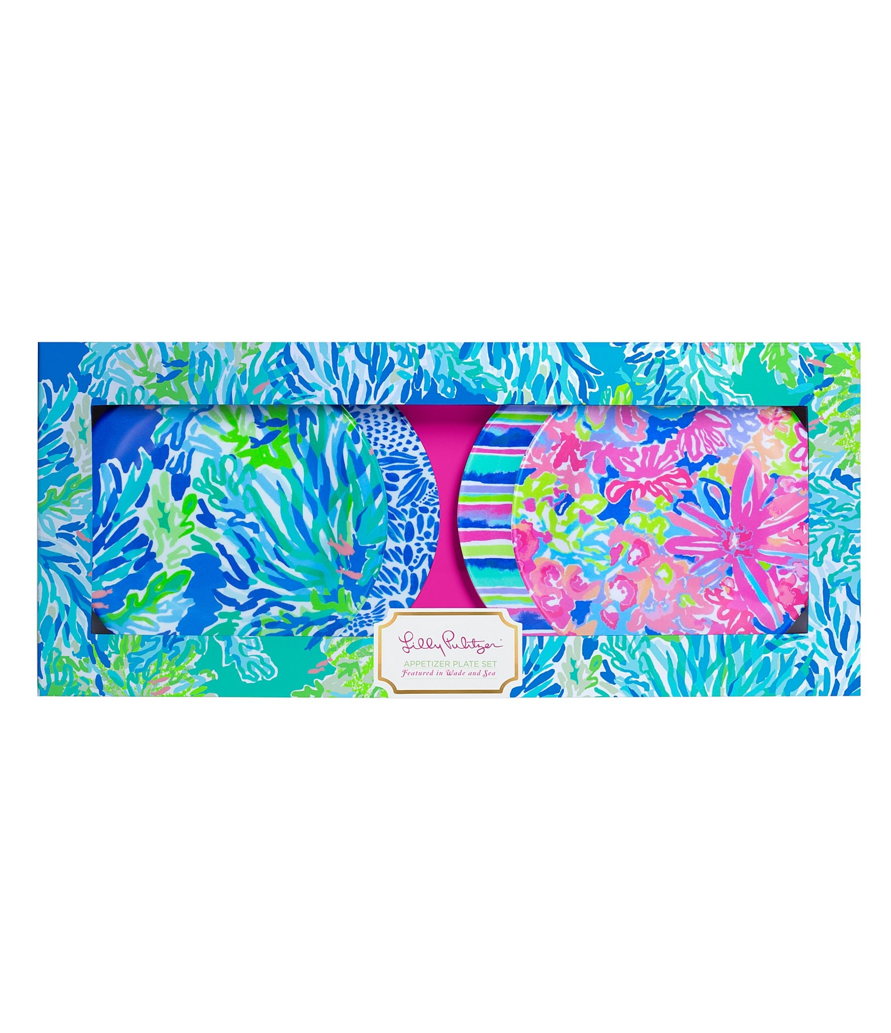 Lilly Pulitzer Wade And Sea 4 Piece Melamine Appetizer