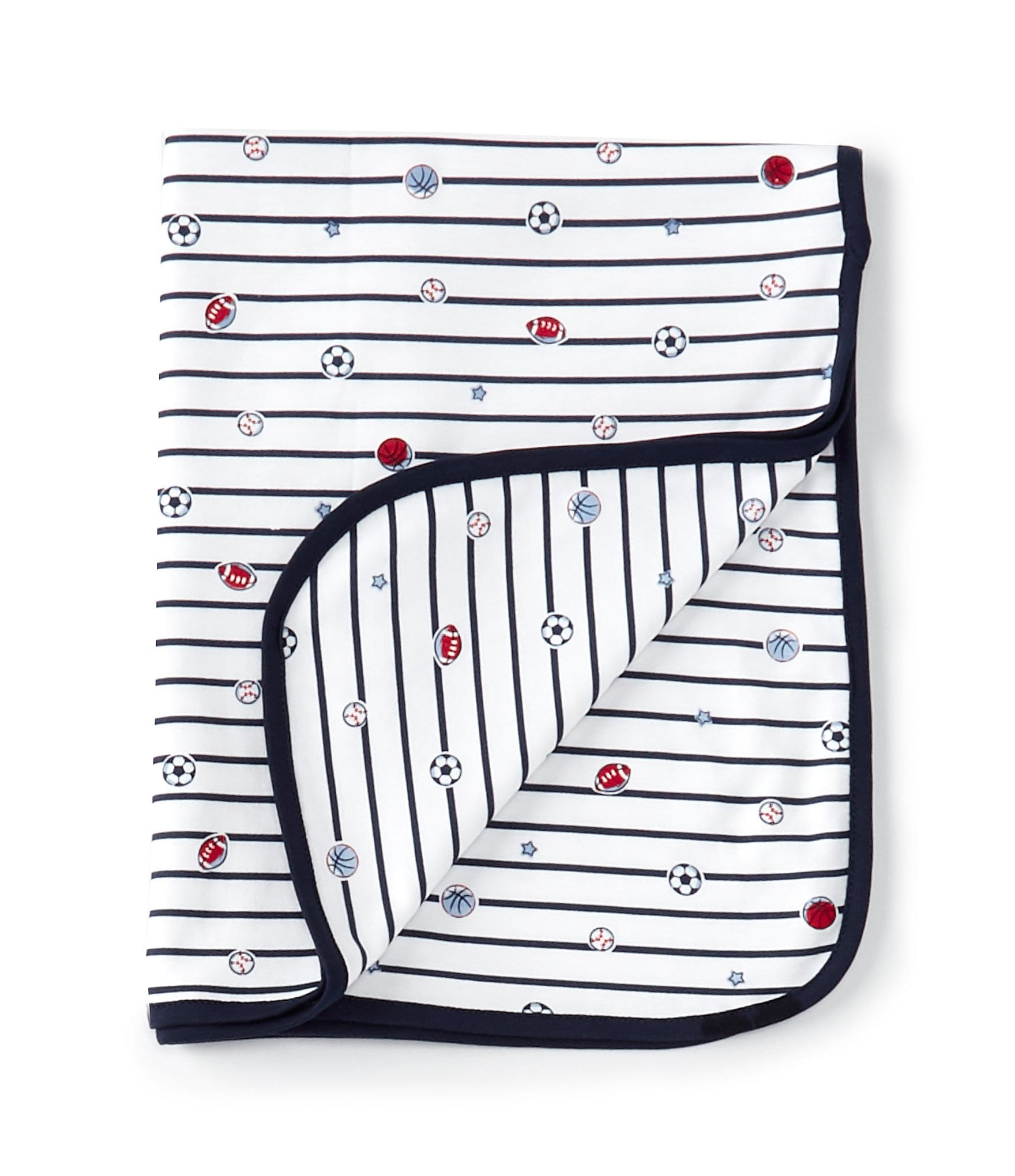Little Me Baby Boys Sports Star Tag Along Security Blanket Throw Navy Stripe NWT