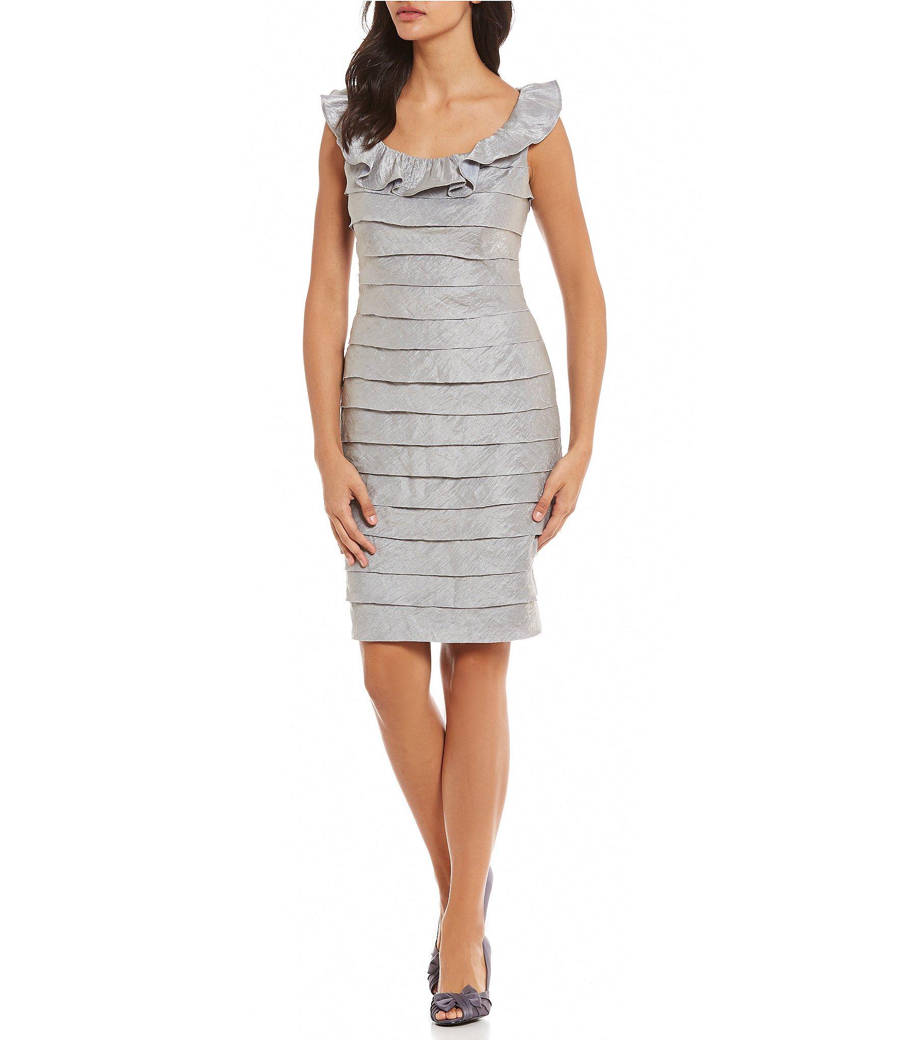 London Times Shimmer Shutter Sheath Dress