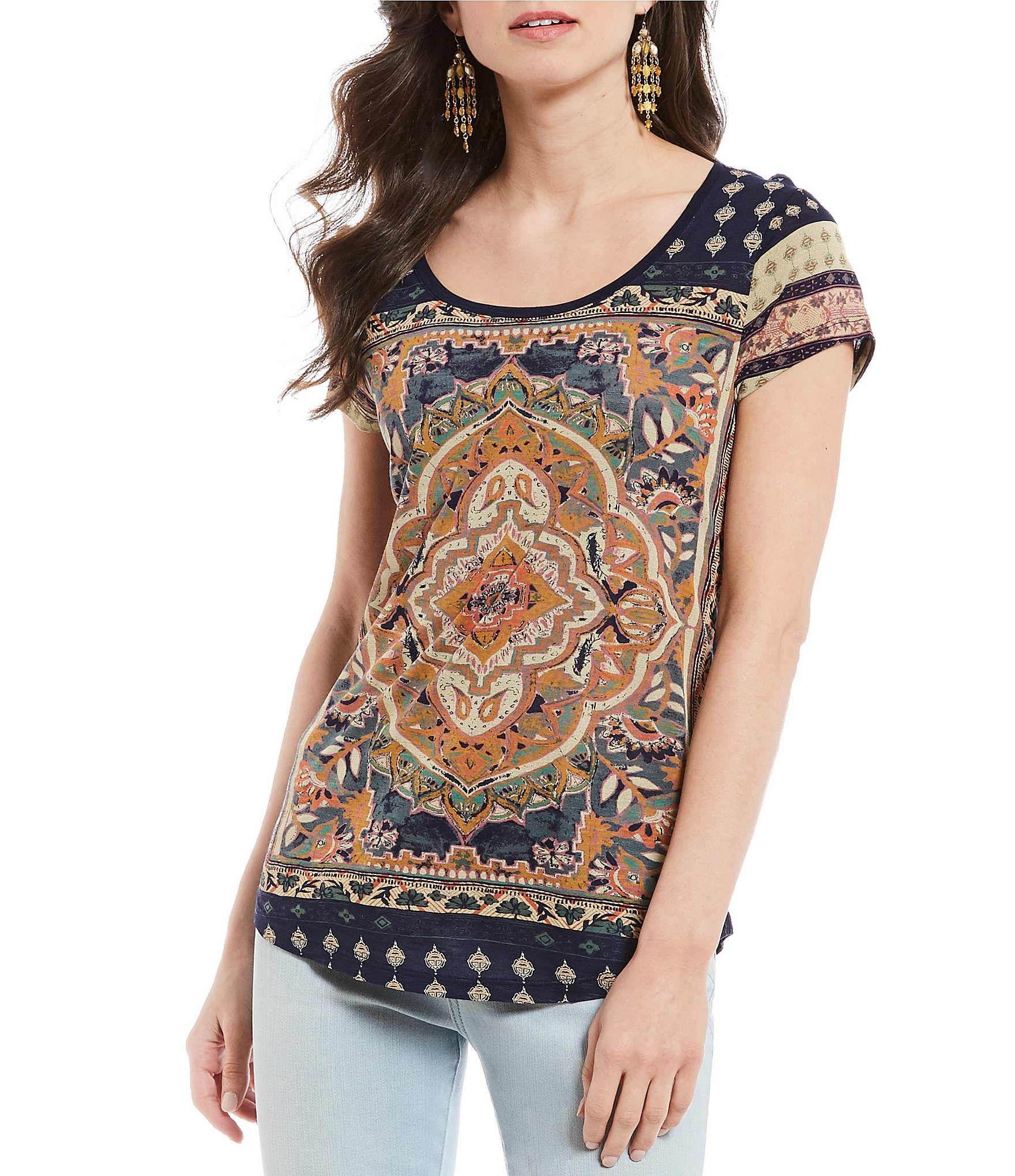 04ccba4dbefef Lucky Brand Persian Carpet Graphic Scoop Neck Short Sleeve Tee ...