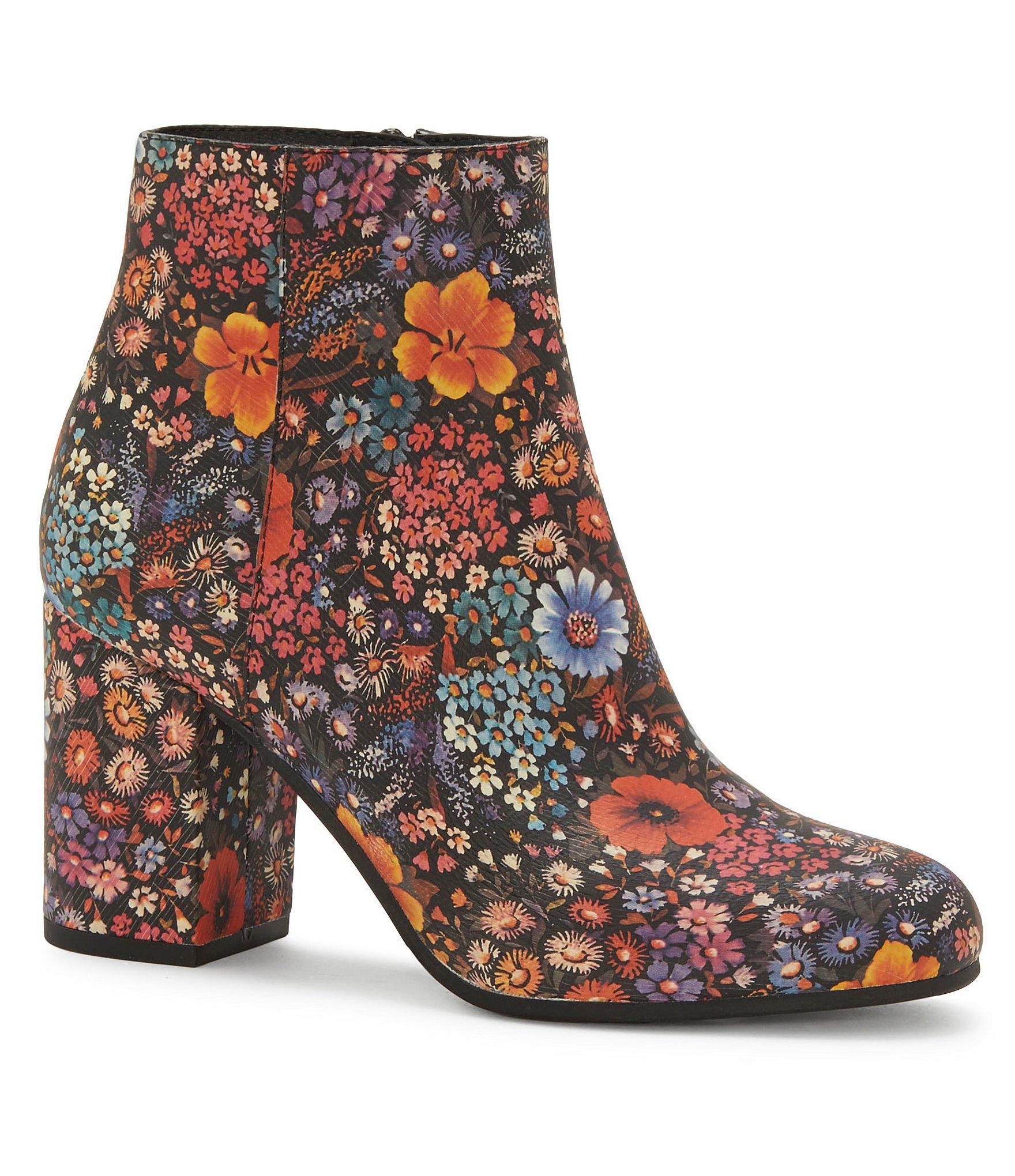 Lucky Brand Salmah Floral Printed Block Heel Booties ...