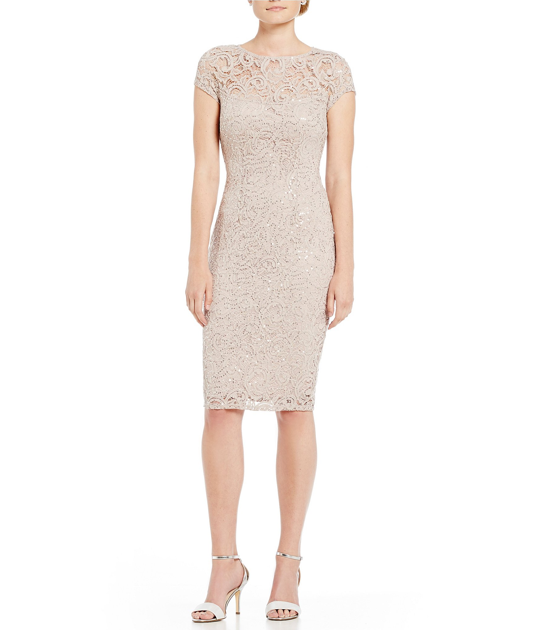 Taupe colored lace dress